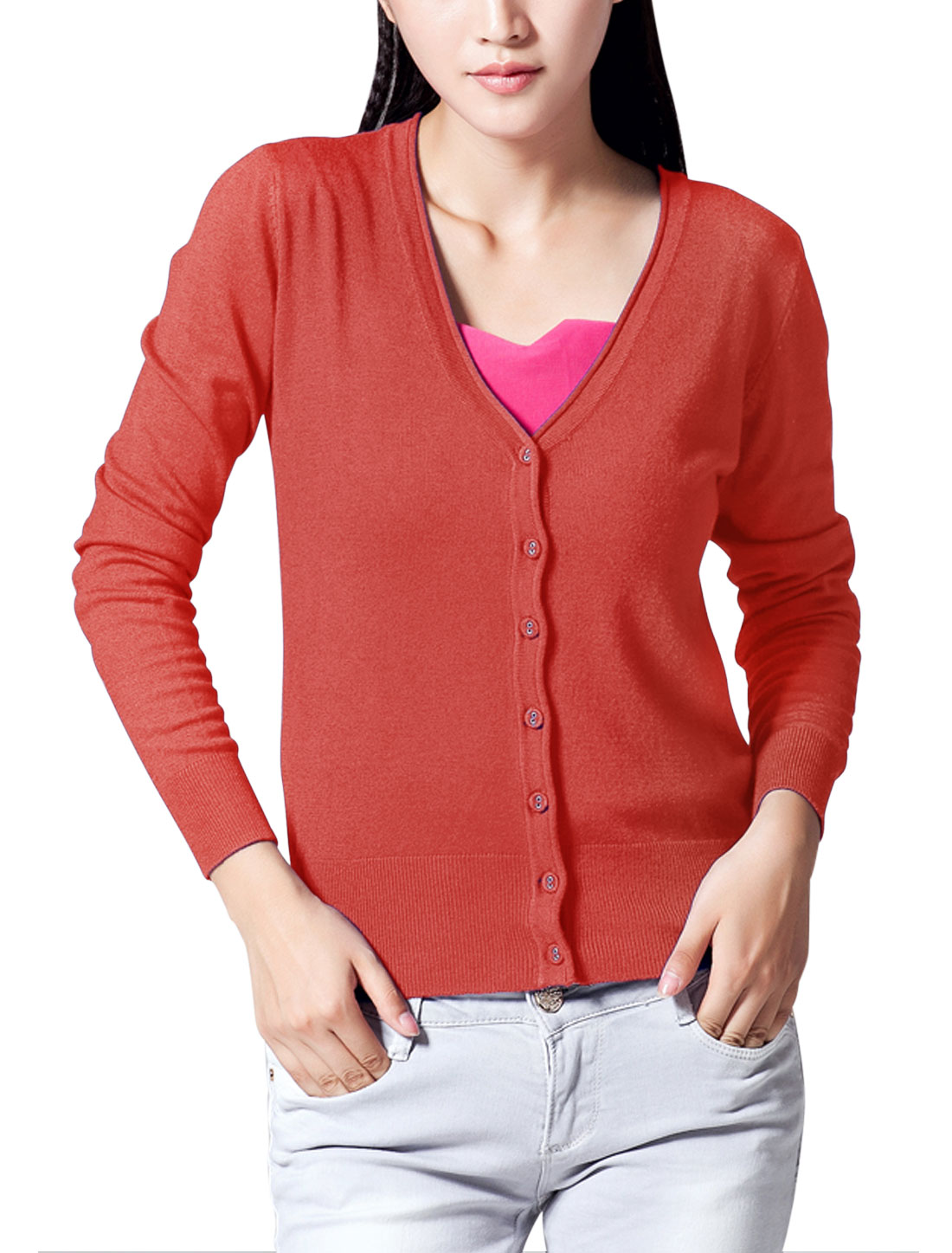 Women V Neckline Elastic Cozy Fit Knit Cardigan Red M
