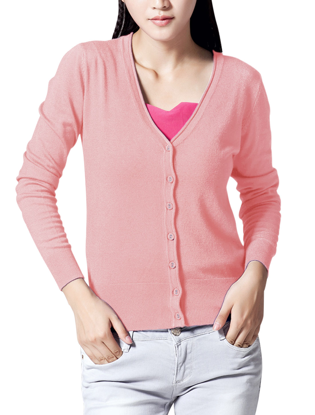 Women Long Raglan Sleeve Slim Fit Knit Cardigan Pink M