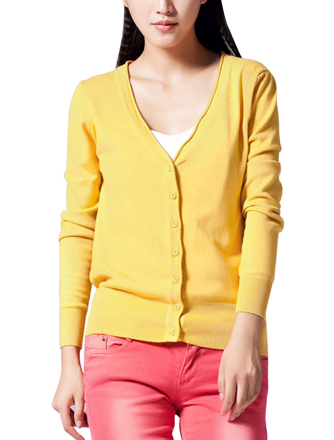 Slim Fit V Neck Long Raglan Sleeve Knit Cardigan for Lady Yellow M