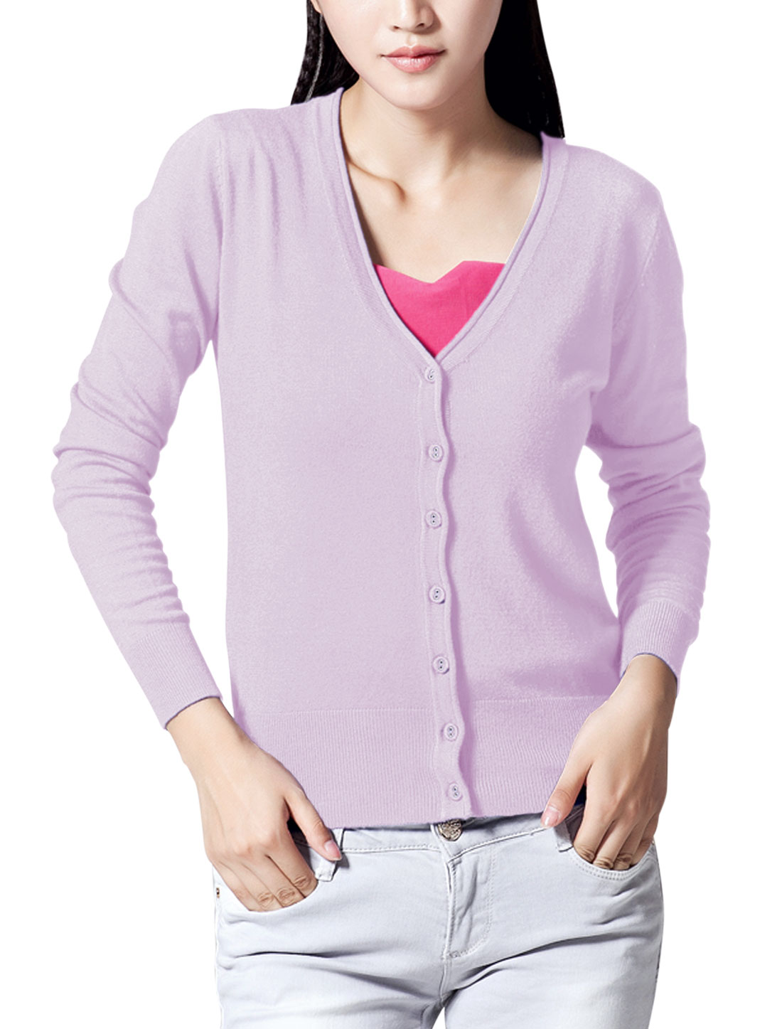 New Style V Neck Single Breasted Casual Knit Cardigan for Lady Lavender M