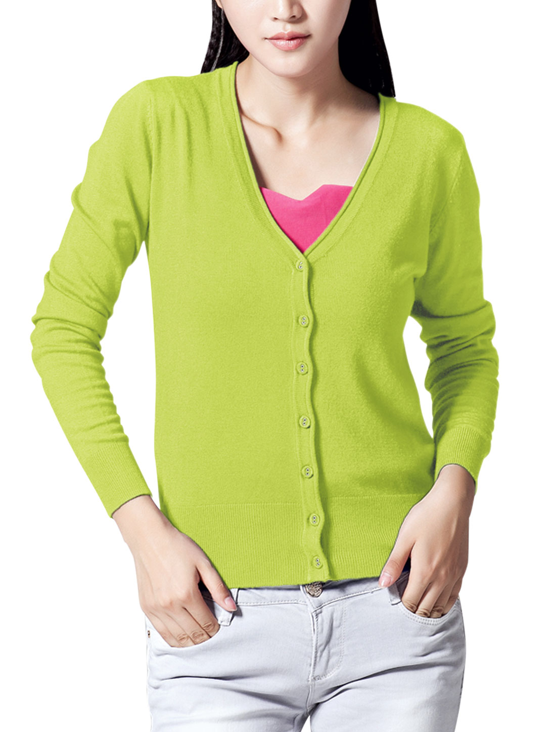 Slim Fit Ribbed Cuff w Hem Design Knit Cardigan for Lady Apple Green M