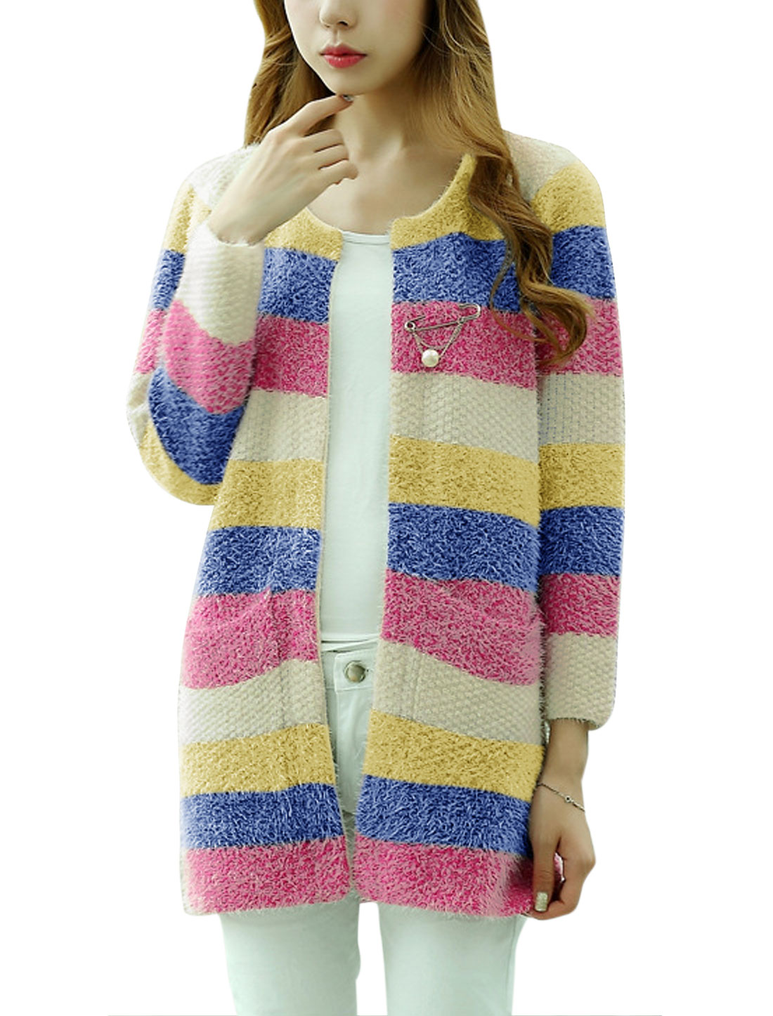 Lady Long Sleeve Round Neck Stripes Pattern Cardigan Blue Yellow XS