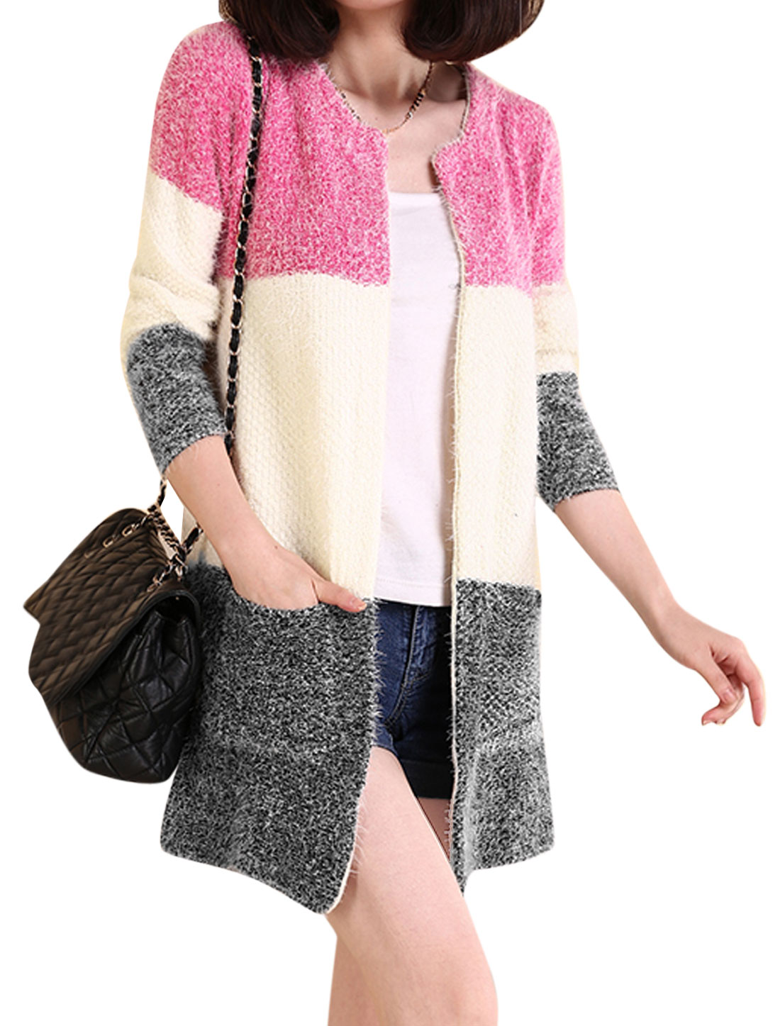 Lady Contrast Color Vertical Pockets Long Sweater Cardigan Deep Pink XS