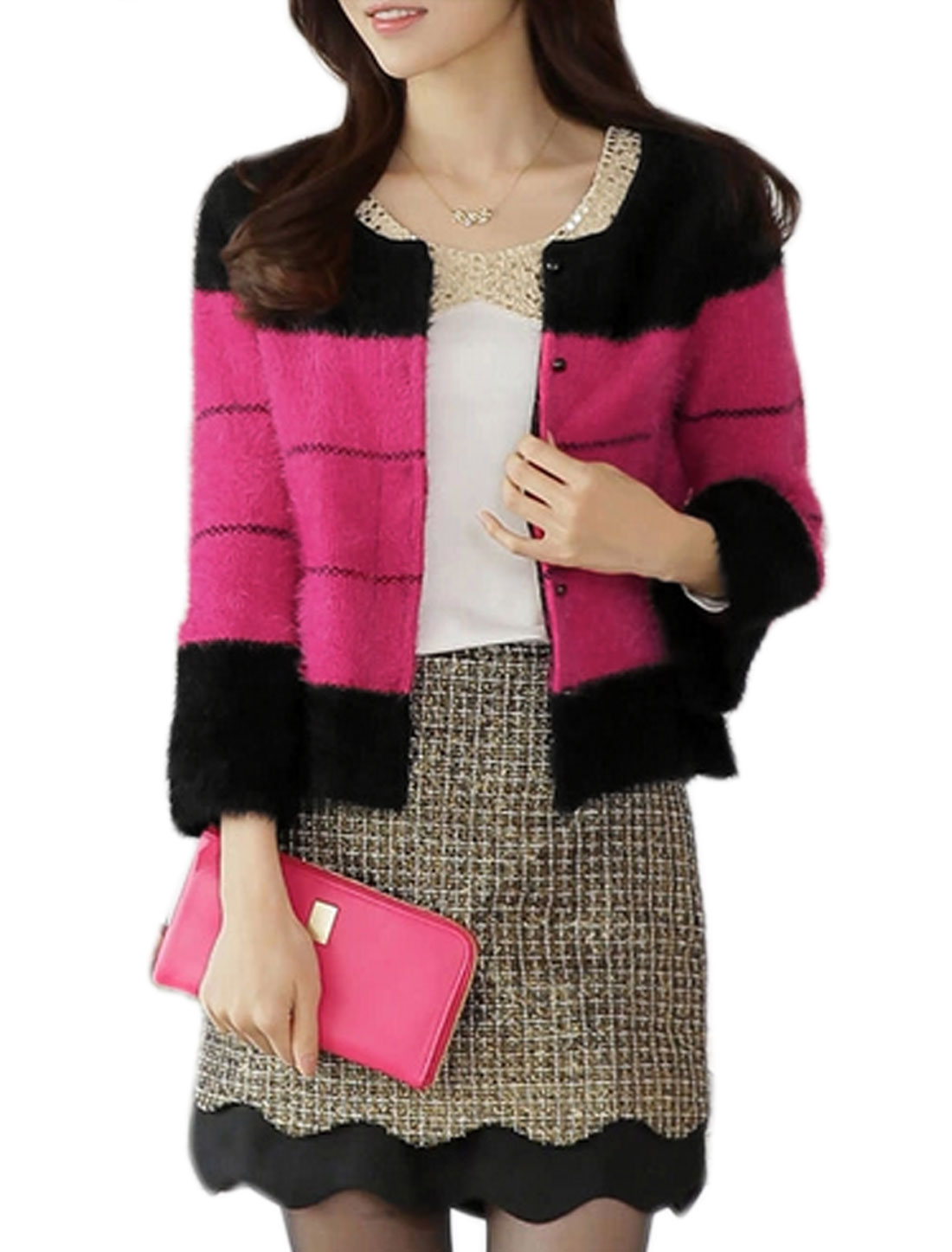 Lady Round Neck Long Sleeve Contrast Color Cardigan Fuchsia XS