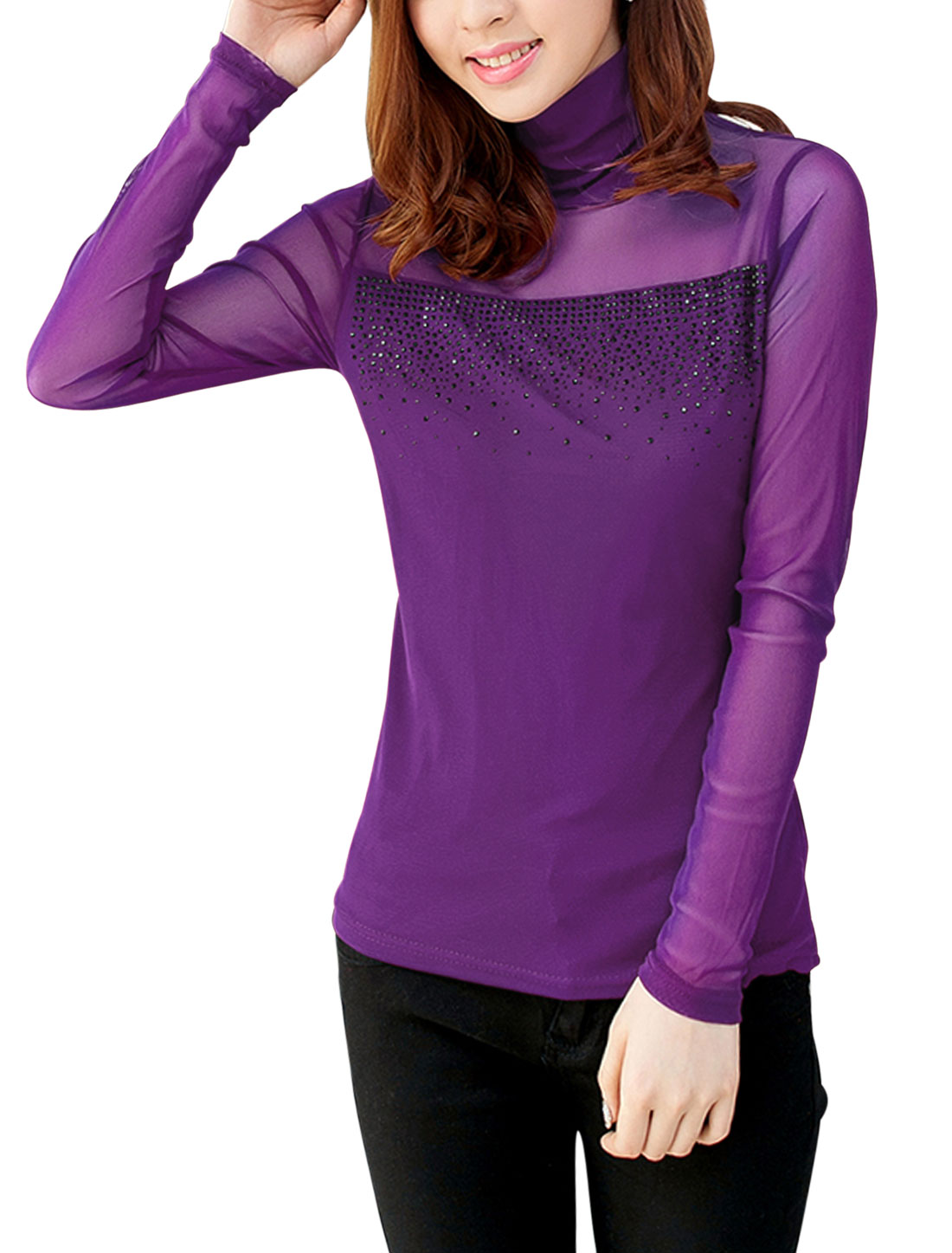 Women Turtle Neck Beaded Embellished Long Sleeve Slim Mesh Top Purple S