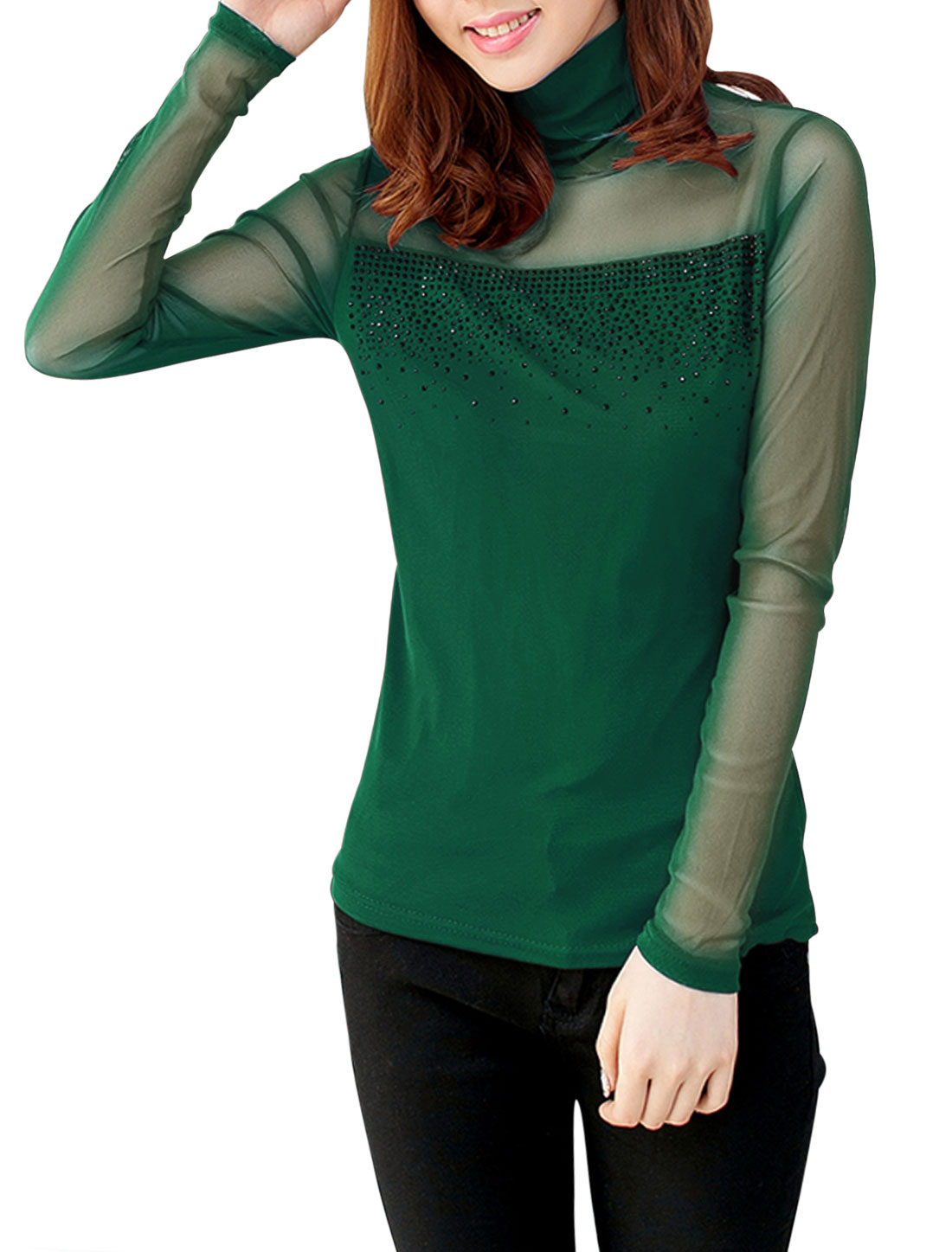 Lady Turtle Neck Semi Sheer Long Sleeve Slim Mesh Top Dark Green S