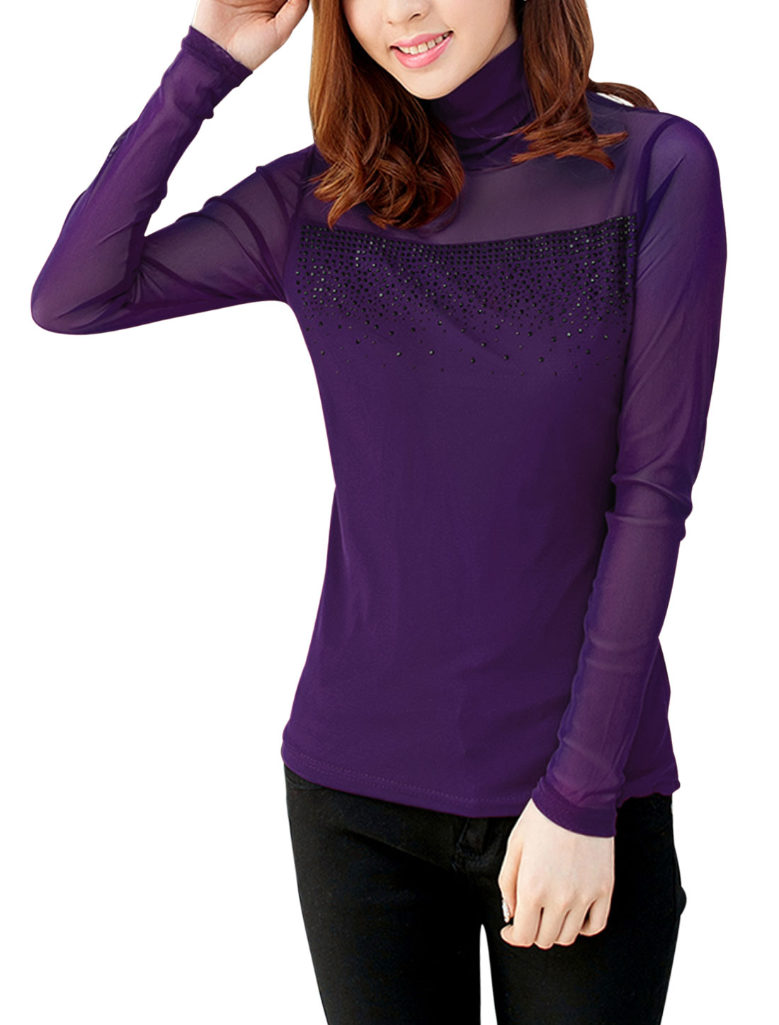 Women Semi Sheer Yoke w Sleeve Sexy Top Dark Purple S