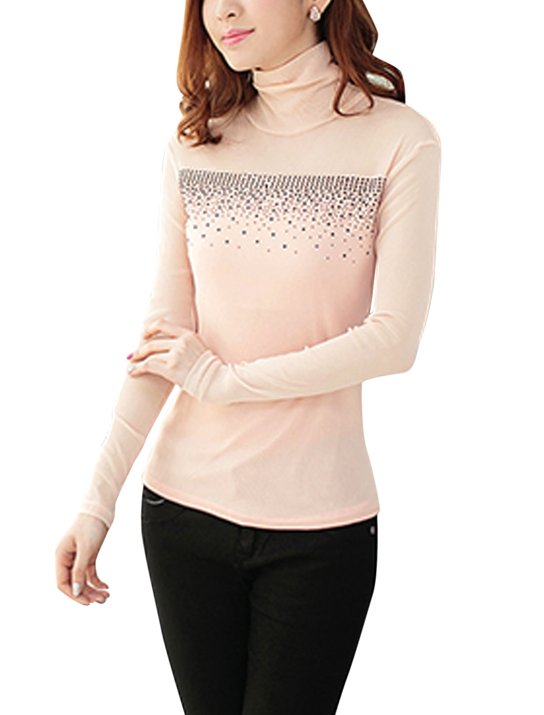 Lady Sweet Style Beaded Embellished Slim Mesh Top Light Pink S