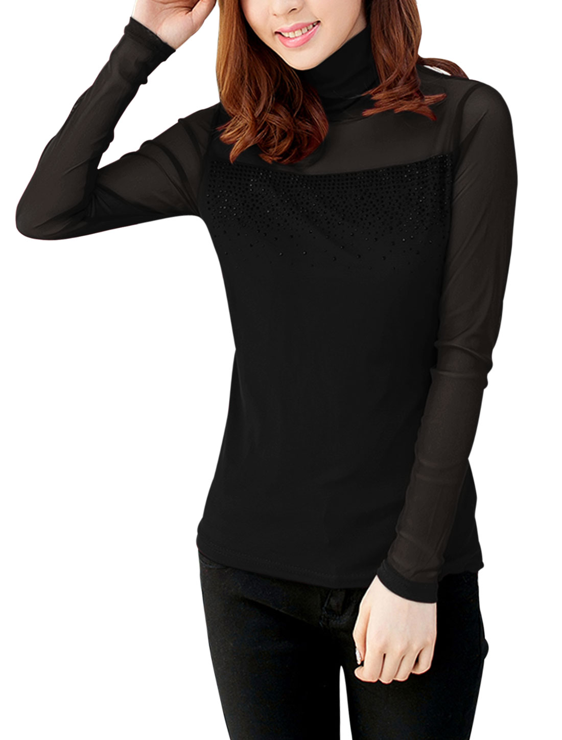 Women Sexy See Through Yoke w Sleeve Slim Mesh Top Black S