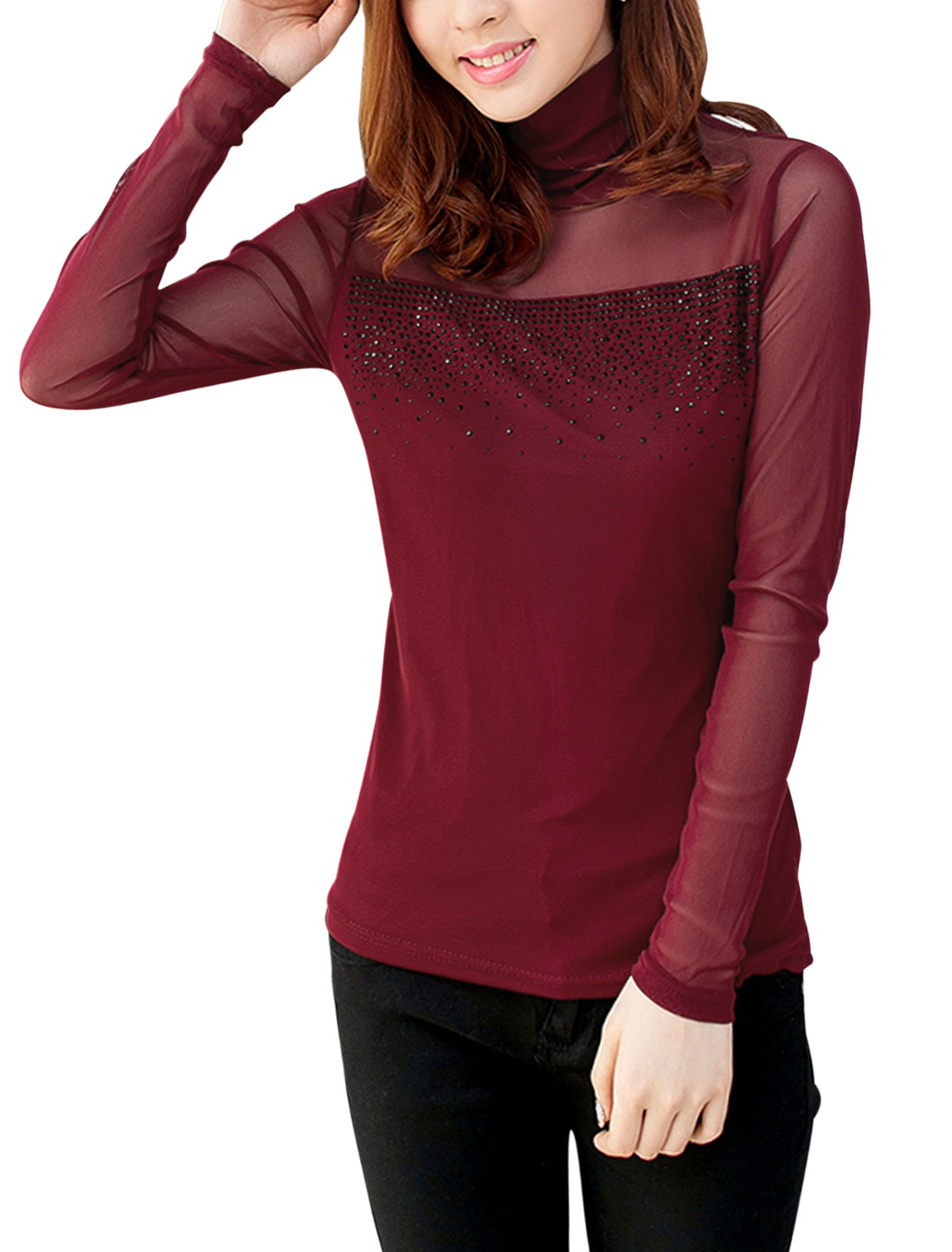 Women See Through Long Sleeve Slipover Slim Mesh Top Burgundy S
