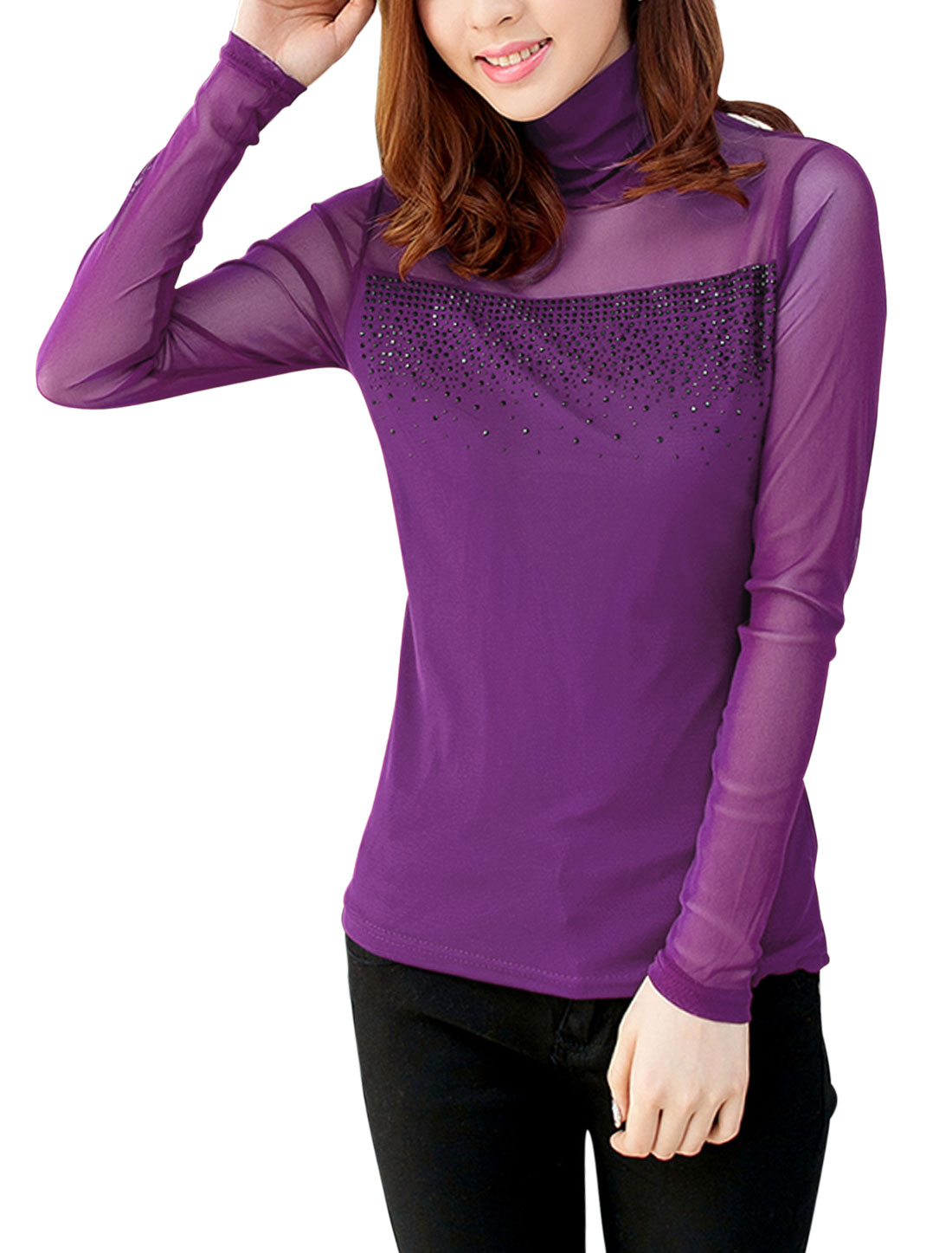 Lady Turtle Neck Semi Sheer Yoke w Sleeve Stretch Top Purple M