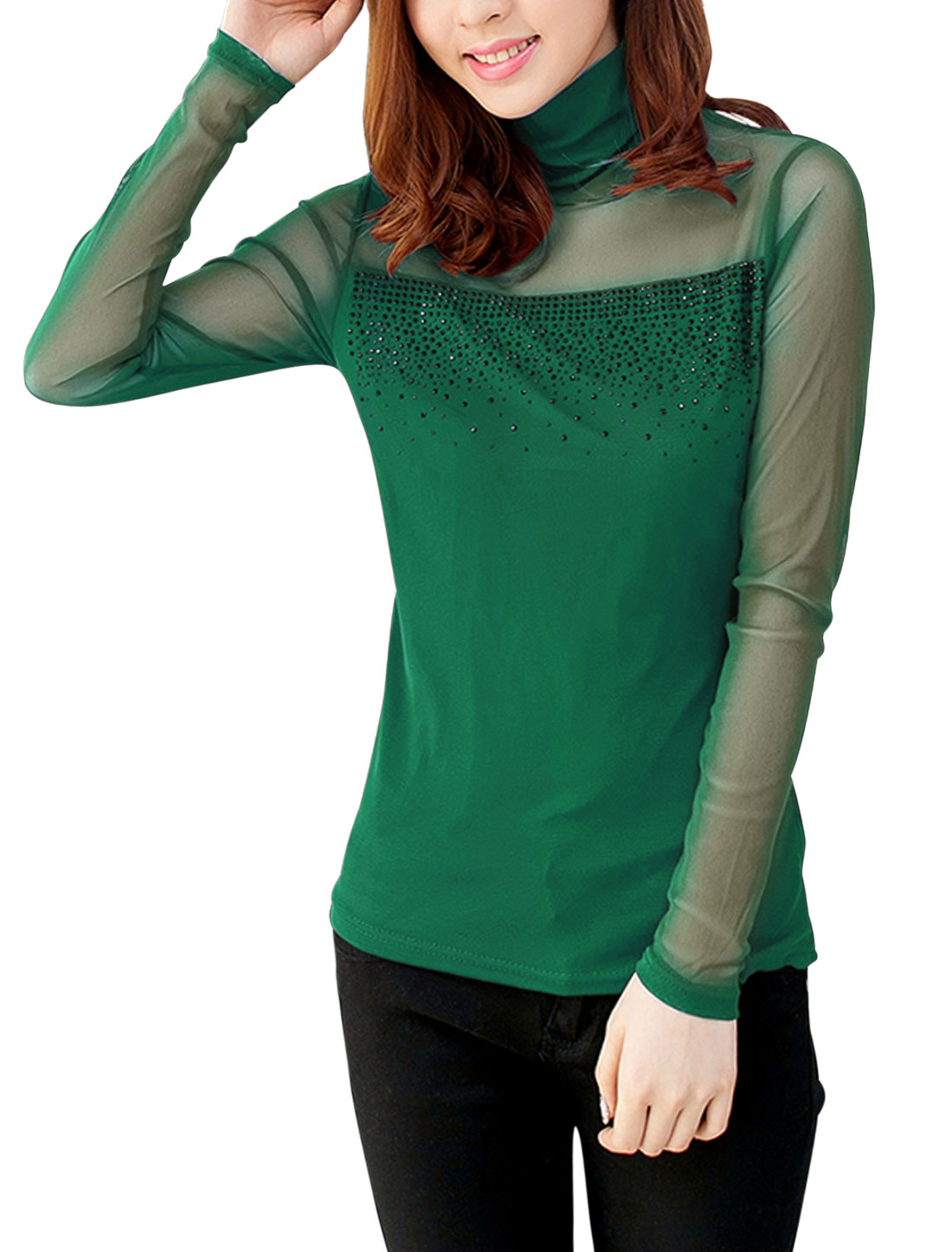 Women Long Sleeve Stretch Mesh Top Dark Green M