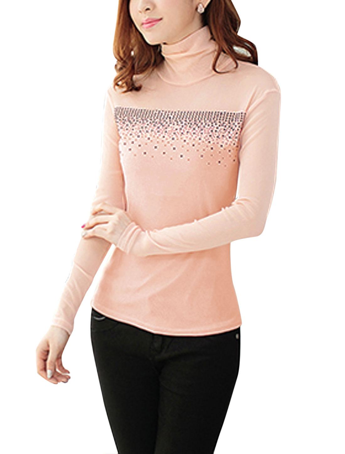 Women Slipover Beaded Embellished Long Sleeve Top Light Pink M