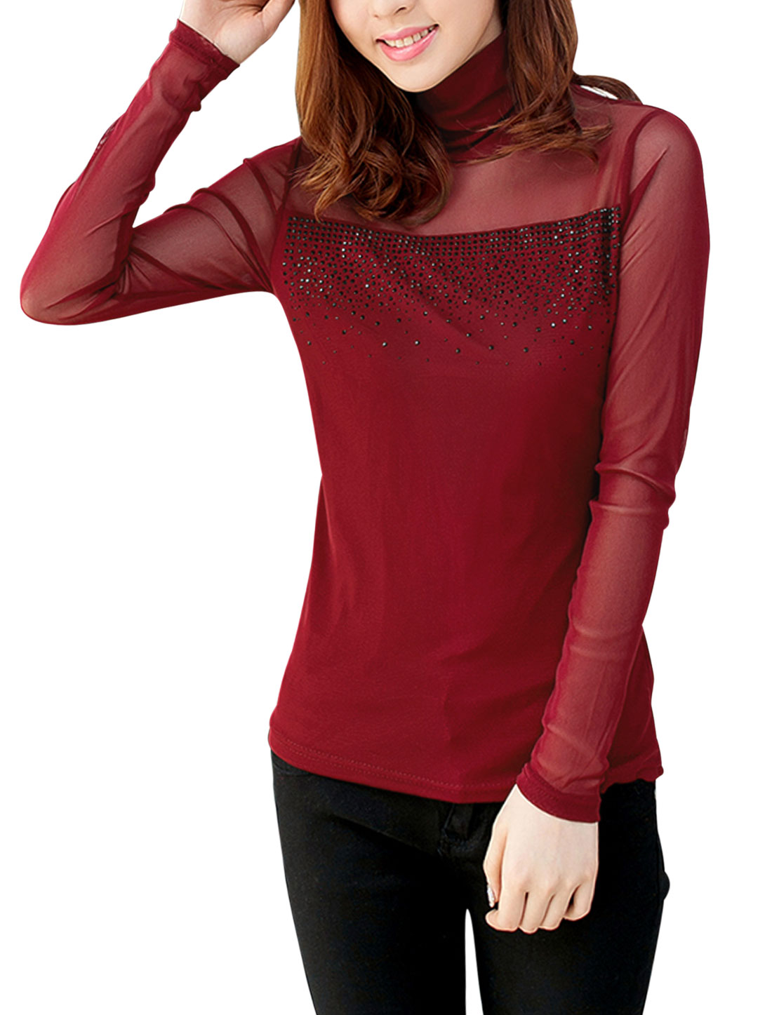 Women Beaded Embellished See Through Sleeve Sexy Top Warm Red M