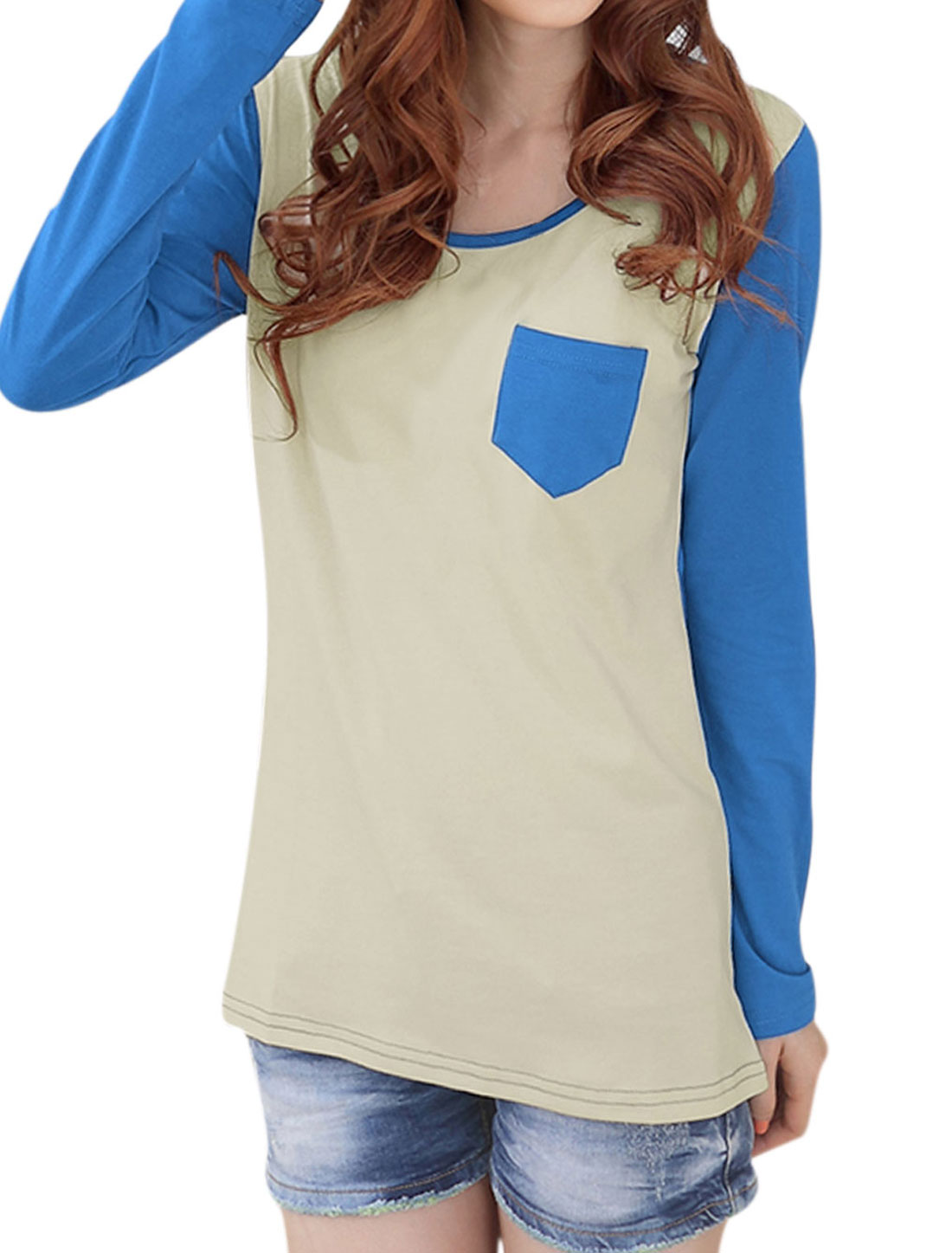 Women Long Sleeve Contrast Color Single Chest Pocket T-shirt Blue S
