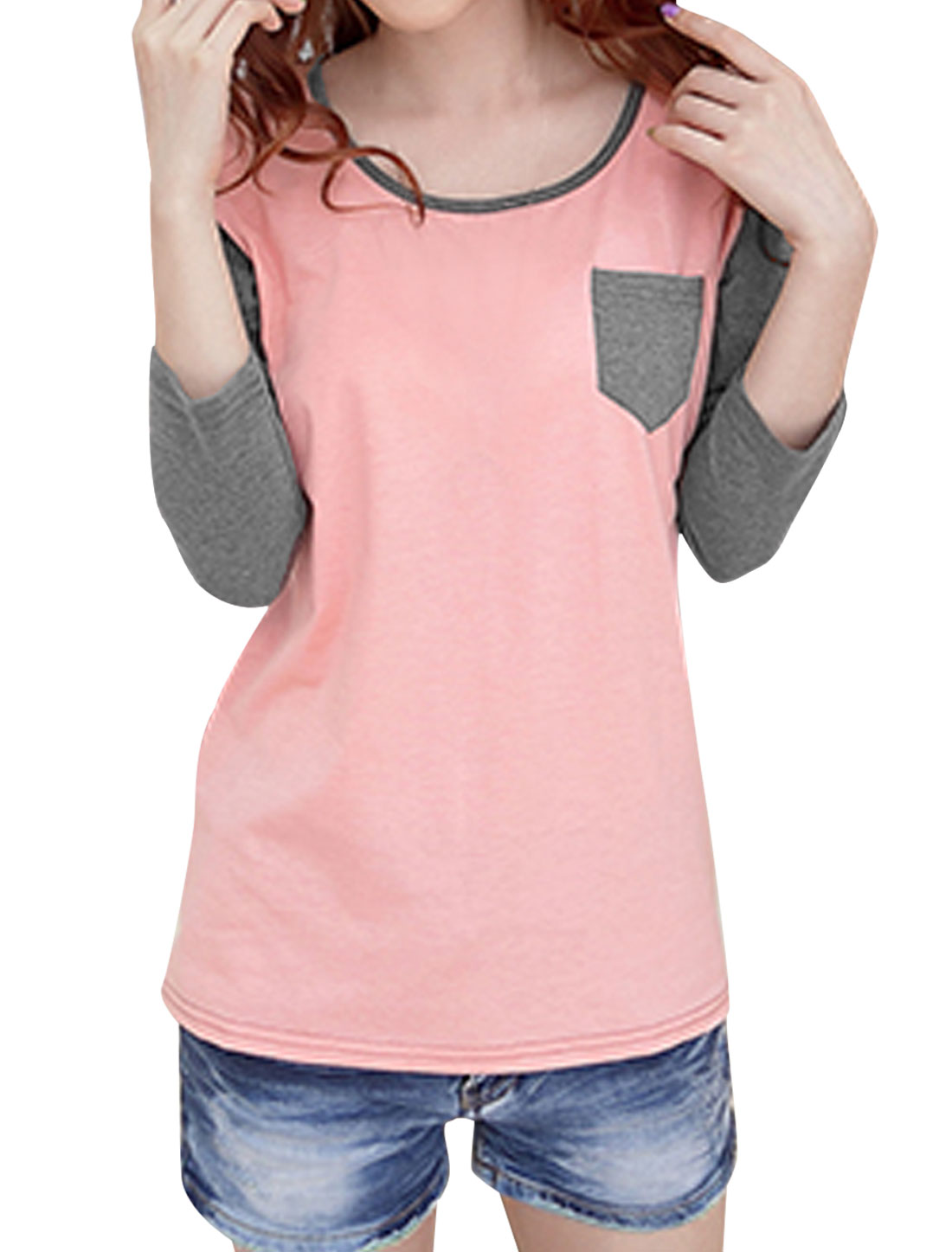 Women Long Sleeve Contrast Color One Chest Pocket T-shirt Pink Gray S