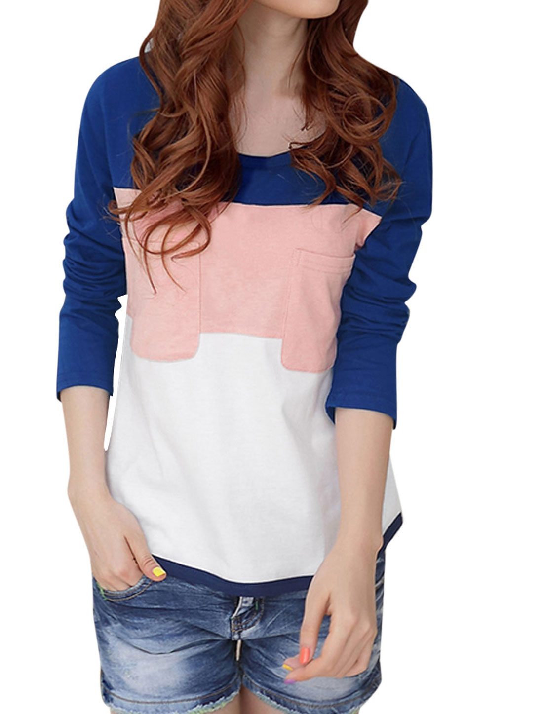 Ladies Round Neck Color Block Long Sleeve Tee Shirt Royal Blue XS