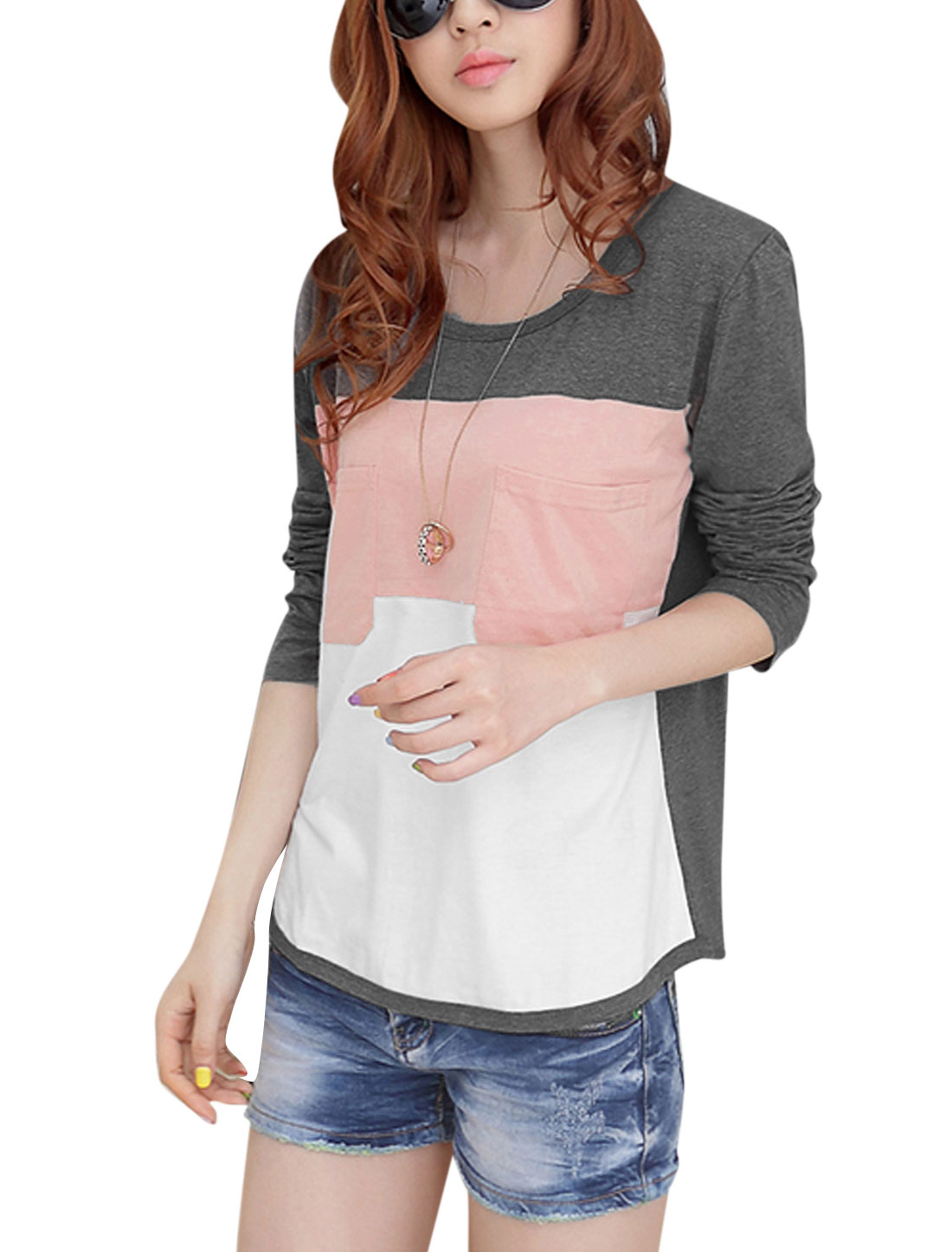Ladies Round Neck Long Sleeve Casual Tee Shirt Dark Grey XS