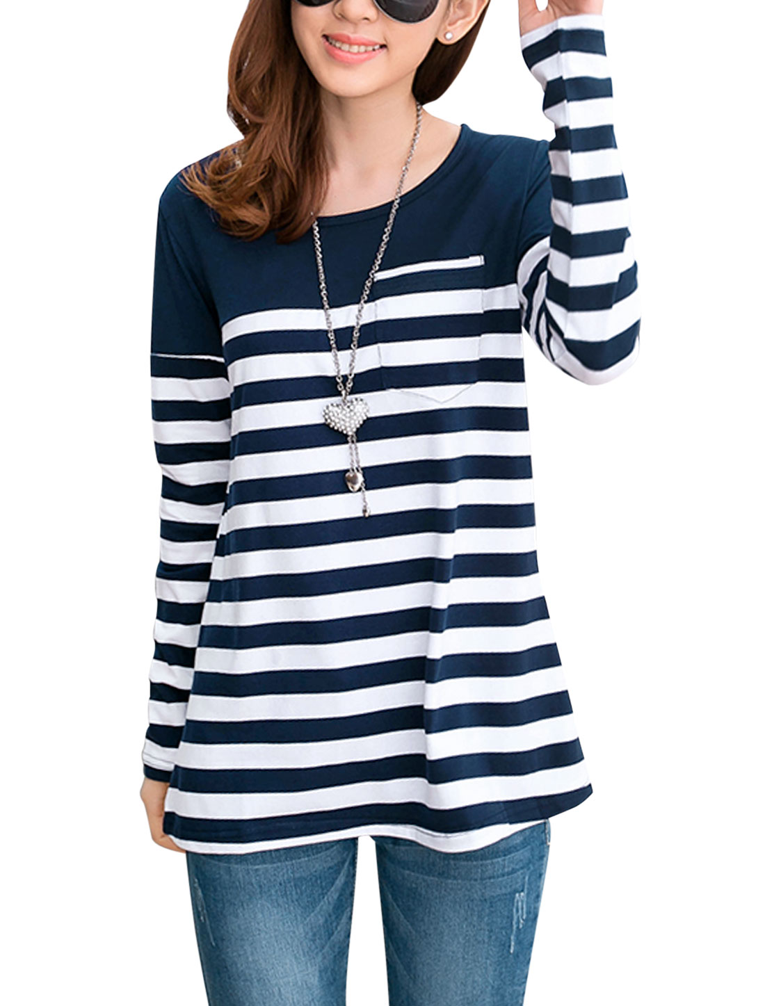 Lady Contrast Color Stripes Single Chest Pocket T-shirt Navy Blue White XS