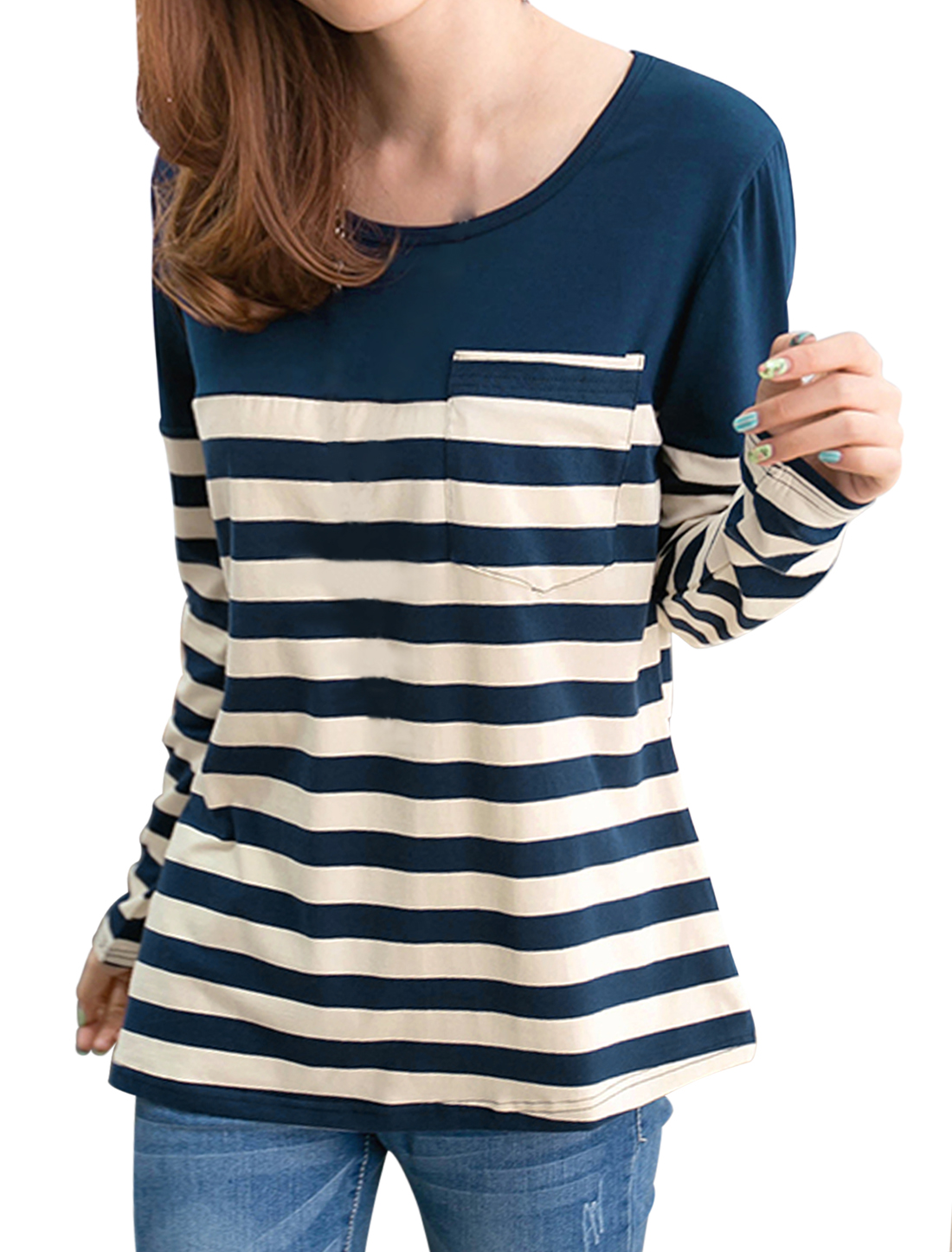 Lady Round Neck Color Block Stripes Casual T-shirt Navy Blue Beige XS