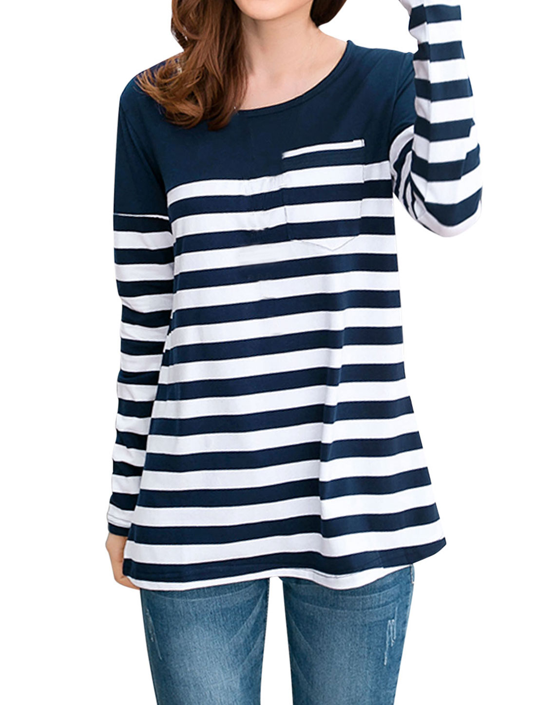 Women Color Block Bar Striped Casual Tee Shirt Navy Blue White S