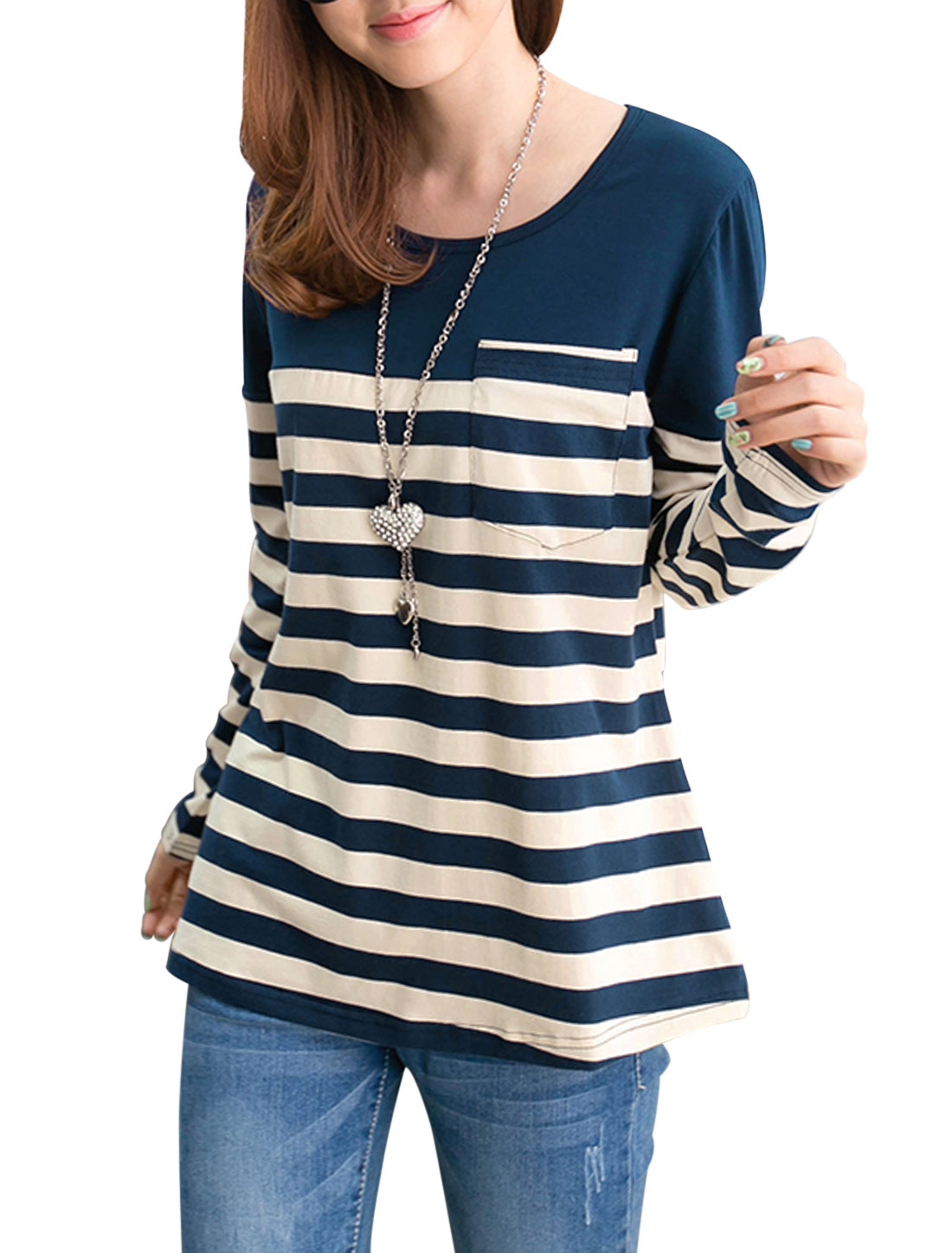 Women Horizontal Stripes Round Neck Slipover T-shirt Navy Blue Beige S