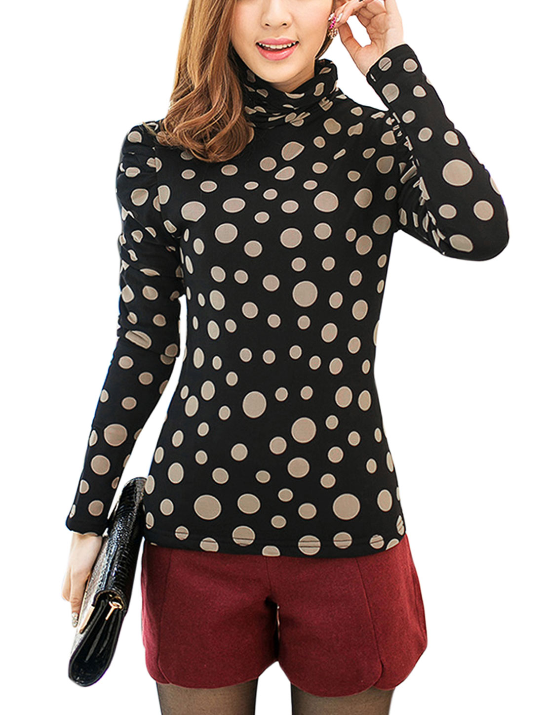 Lady Puff Sleeve Dots Prints Fleece Inner Casual Shirt Khaki Black XS