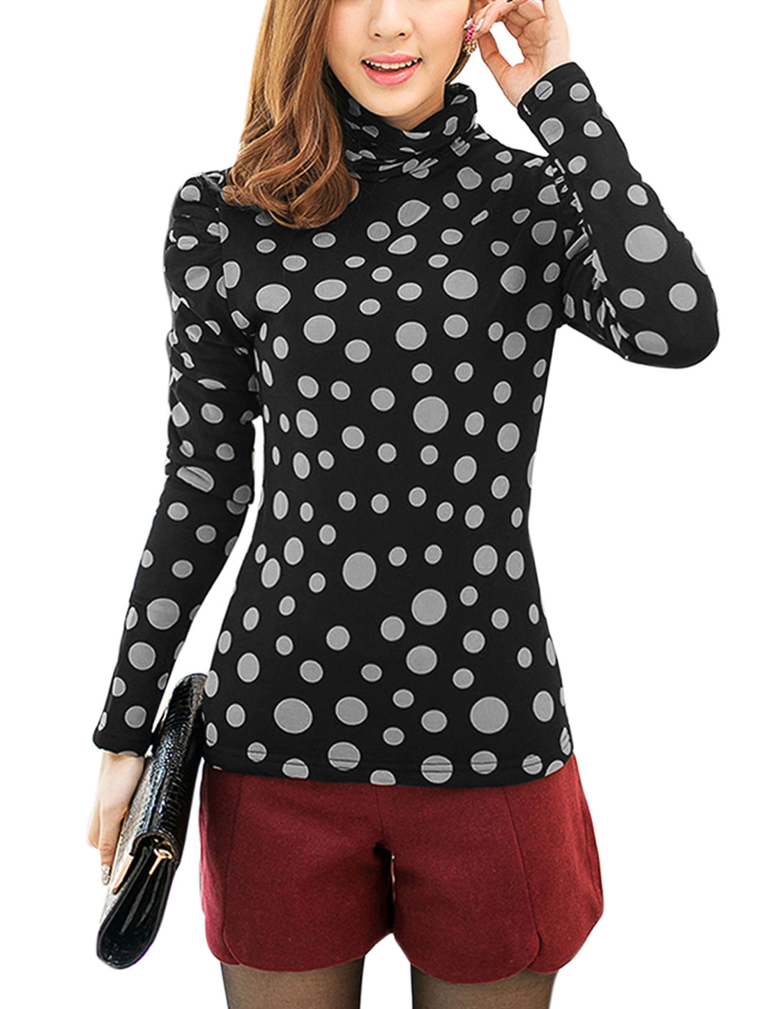 Lady Turtle Neck Dots Prints Casual Shirt White Black XS