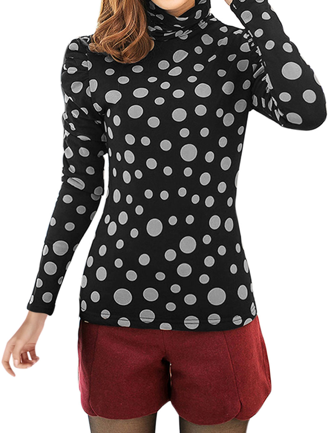 Slipover Casual Puff Sleeve Fleece Inner Shirt for Lady White Black M