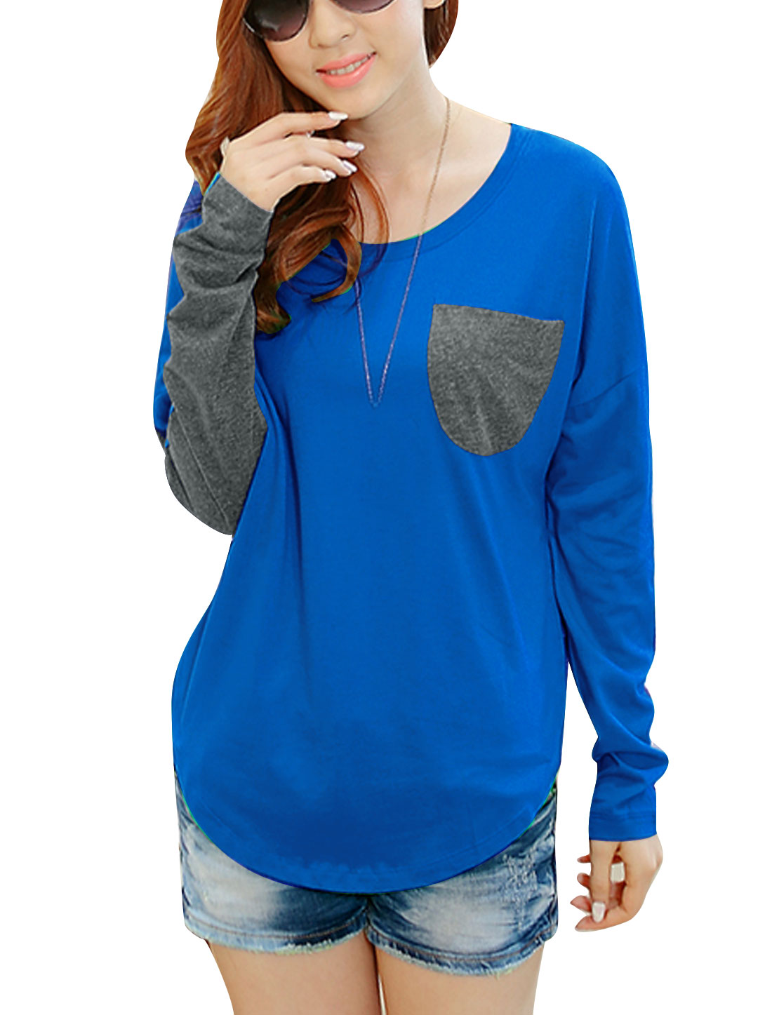 Ladies Long Sleeve Round Neck One Chest Pocket Tee Shirt Royal Blue Gray XS