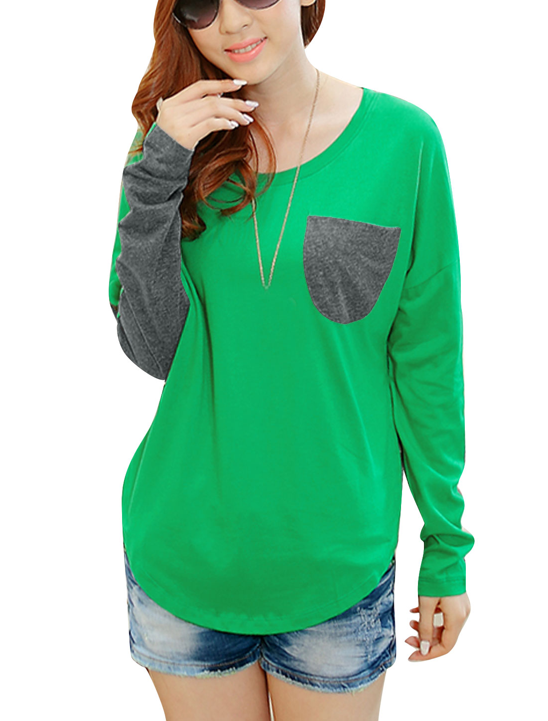 Women Batwing Sleeve Pullover Loose Tee Shirt Green Gray S