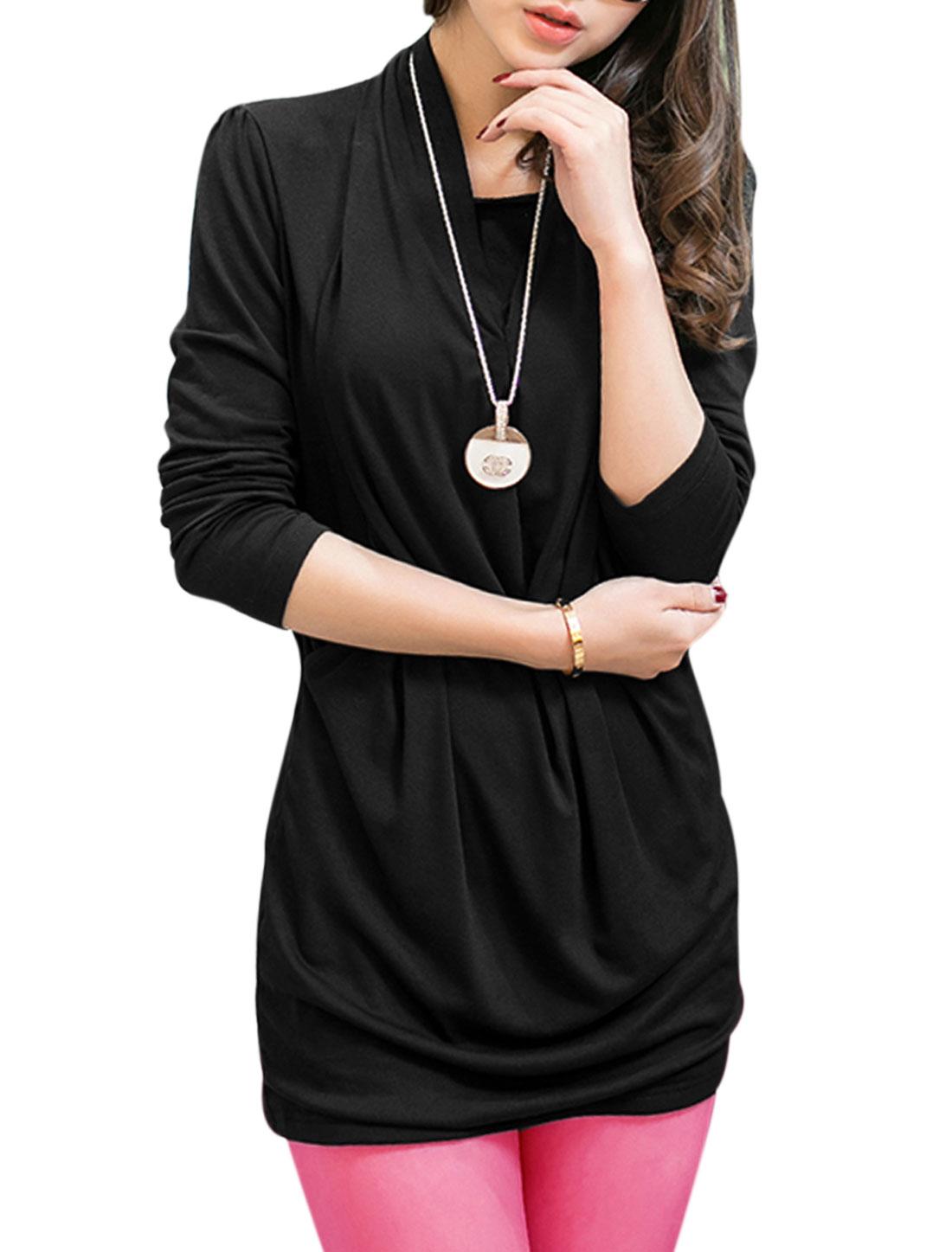 Women Asymmetric Neck Long Sleeve Casual Mini Dress Black M