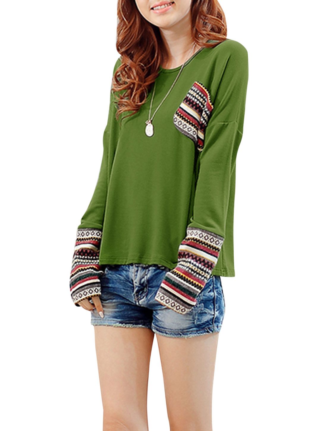 Lady Stripes Pattern Panel One Pocket Chest Casual Shirt Green S