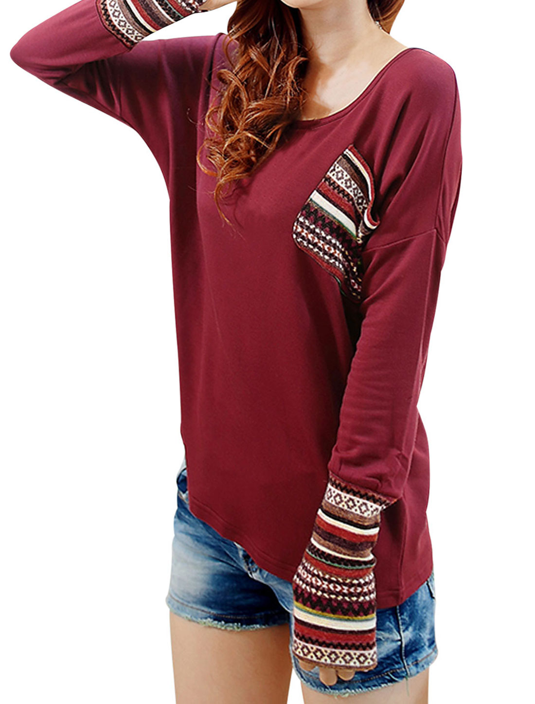 Lady Long Sleeve Stripes Pattern Panel Leisure Shirt Burgundy S