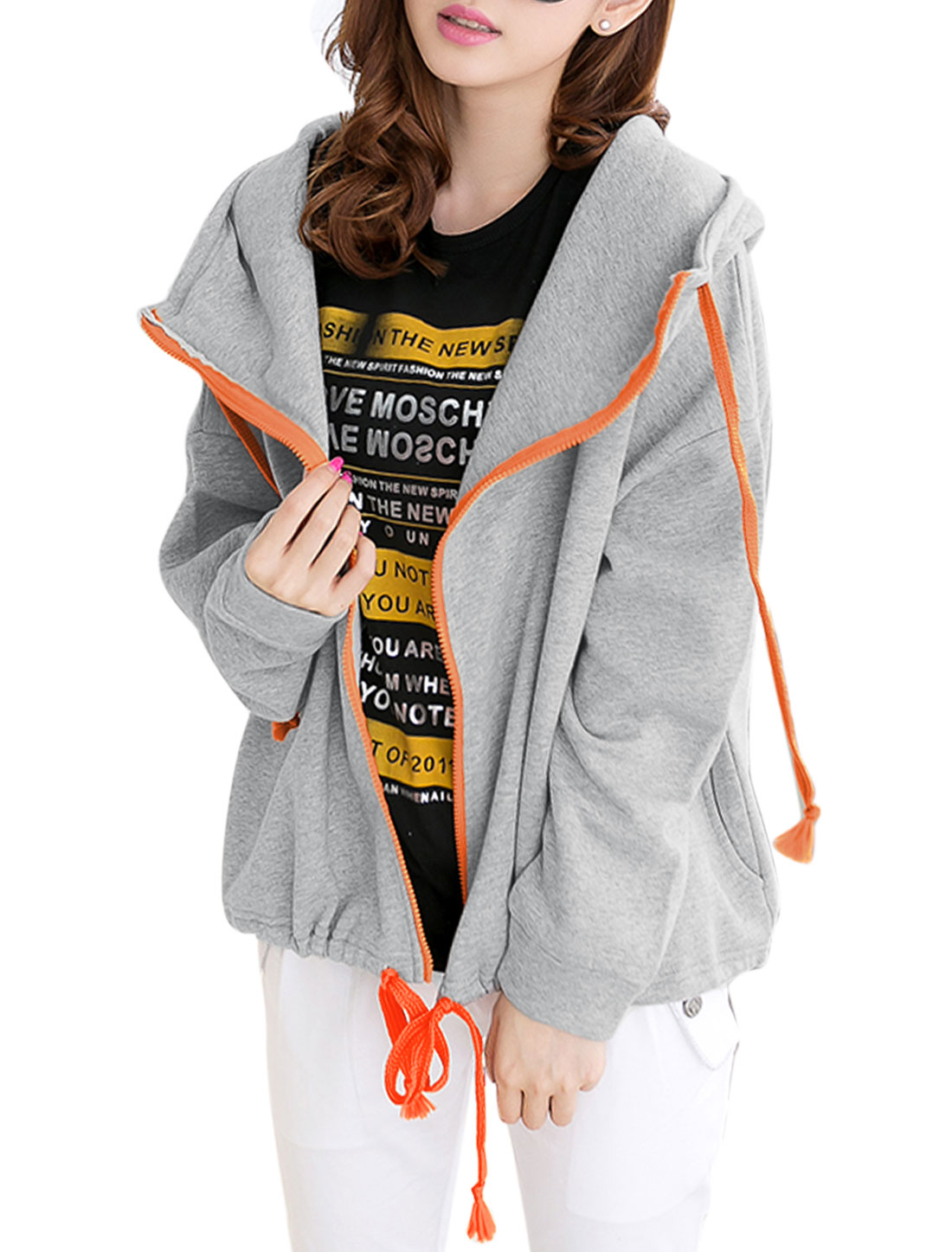 Cozy Fit Casual Batwing Sleeve Fleece Inner Hoodie for Lady Light Gray S