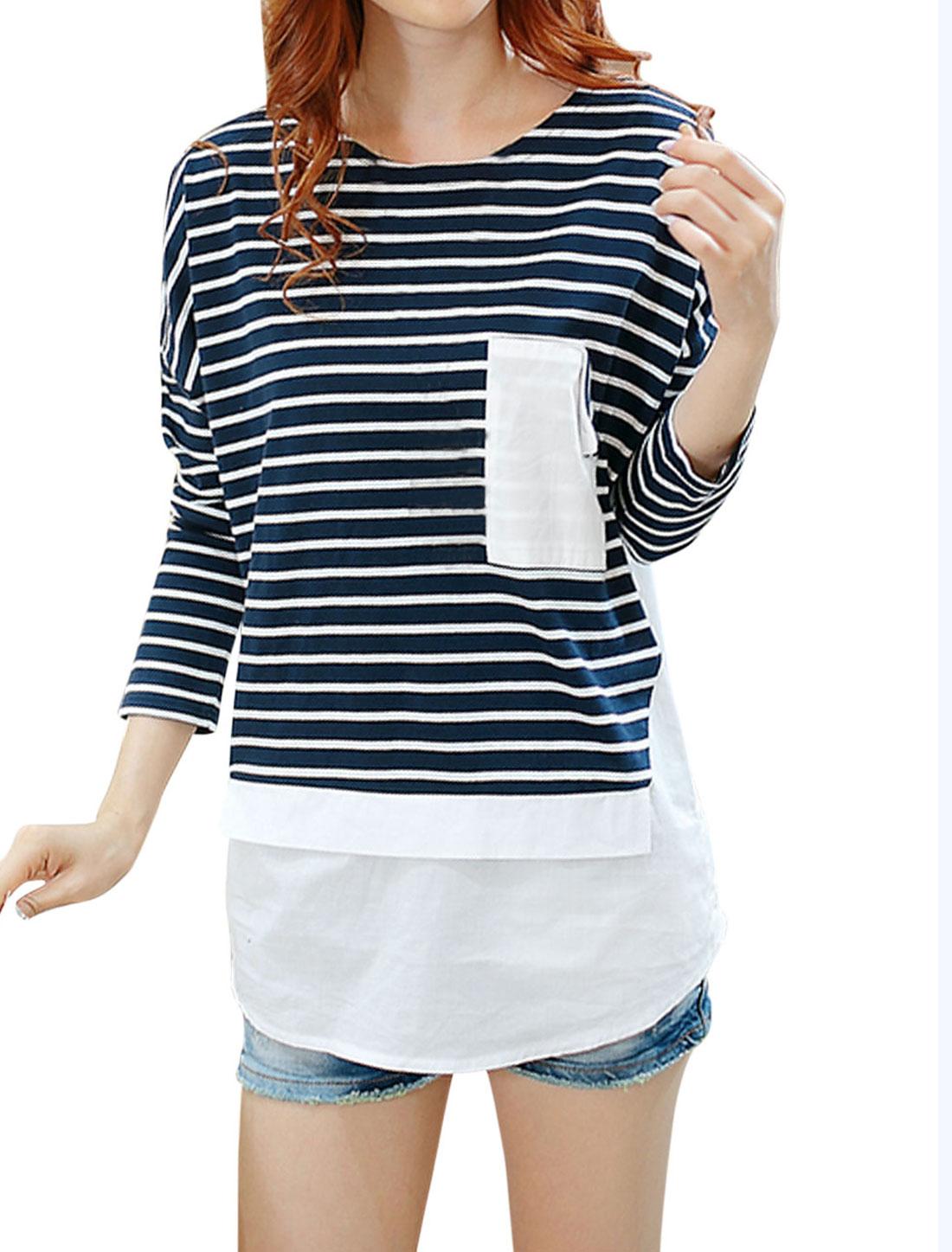 Women Dolman Sleeve Pullover Round Hem Tee Shirt Navy Blue M