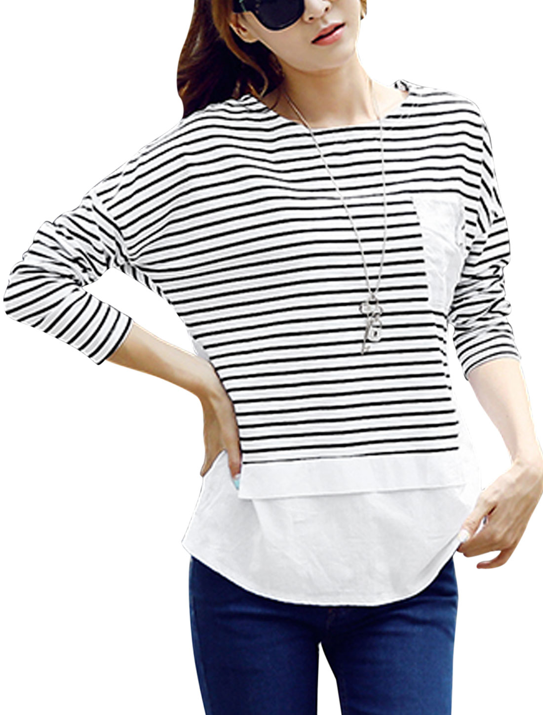 Women Long Sleeve Round Neck Pullover Stripes Pattern Tee Shirt White M