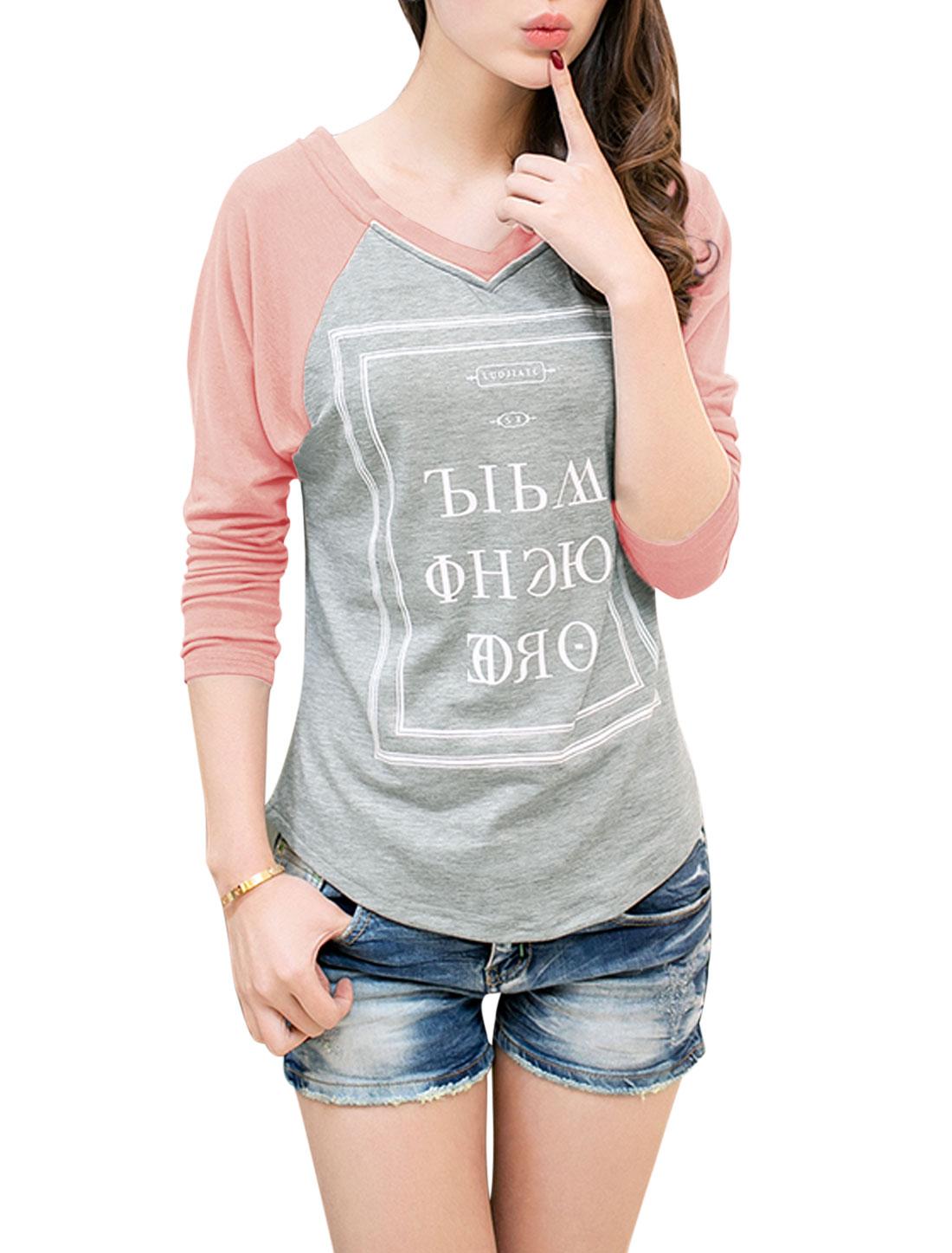Lady V Neck Long Raglan Sleeve Round Hem Tee Shirt Gray Pink S
