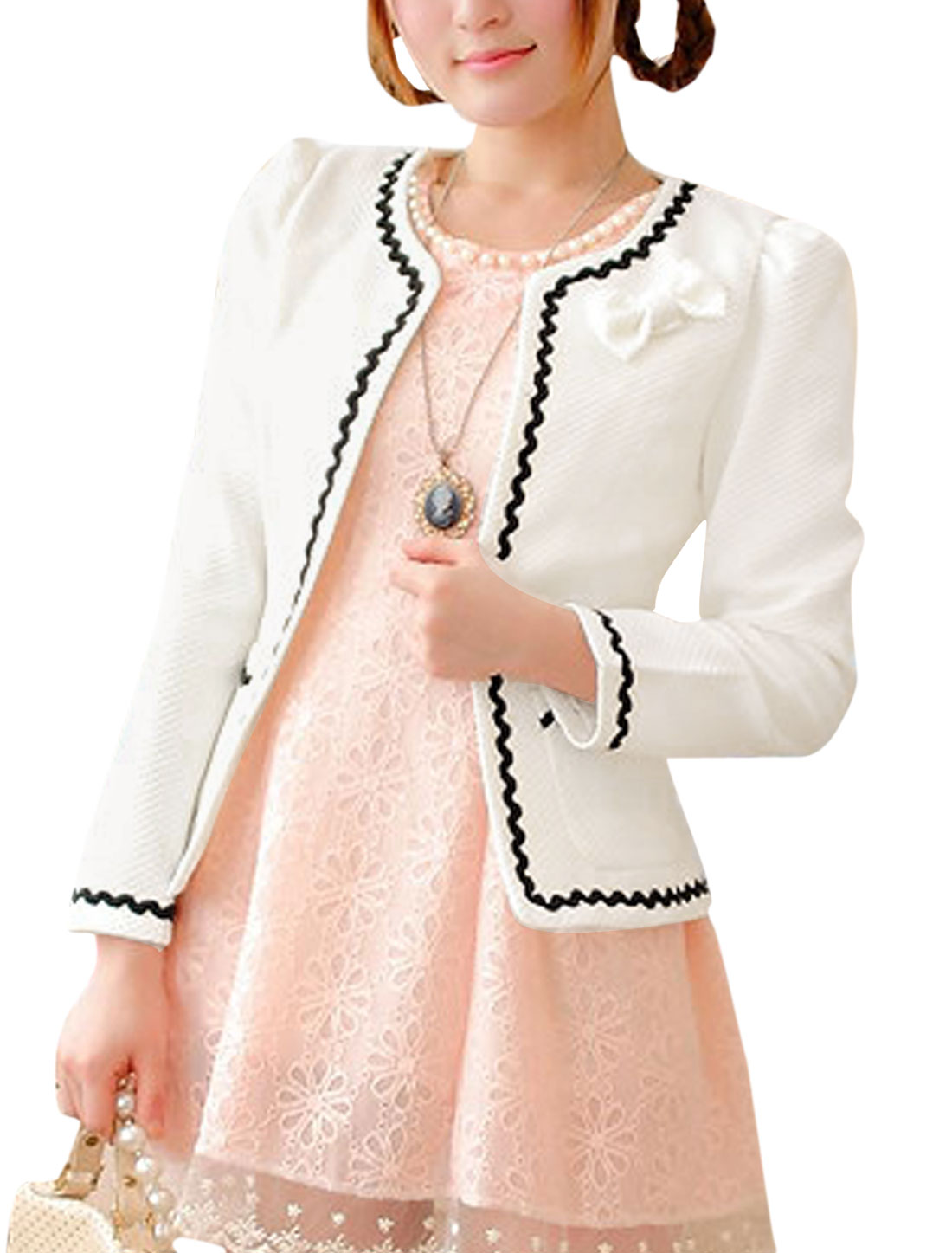 Lady Long Sleeve Textured Design Casual Blazer White XS