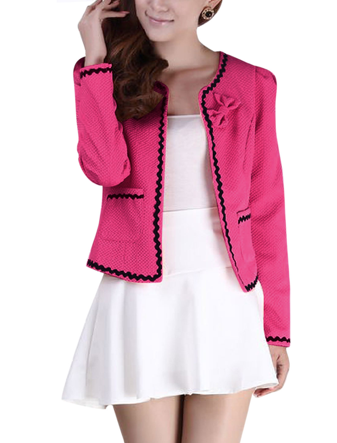 Lady Front Opening Bowknot Decor Cozy Fit Blazer Fuchsia XS