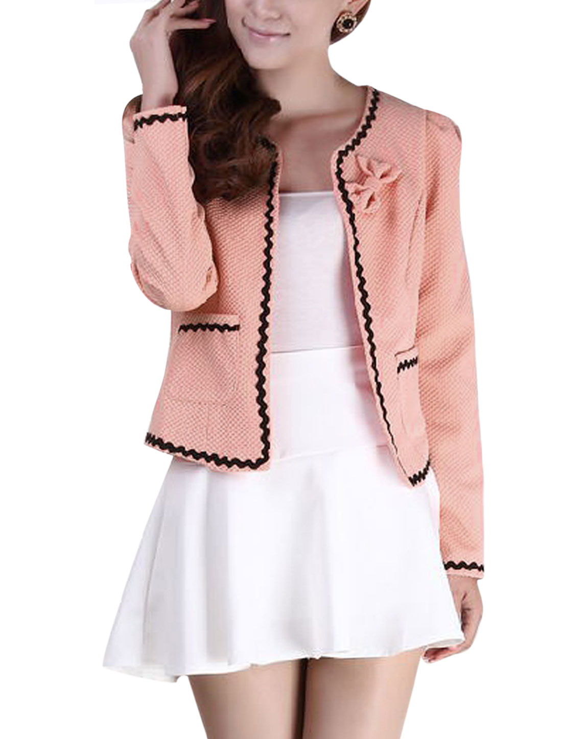 New Style Textured Design Lining Casual Blazer for Lady Pale Pink XS