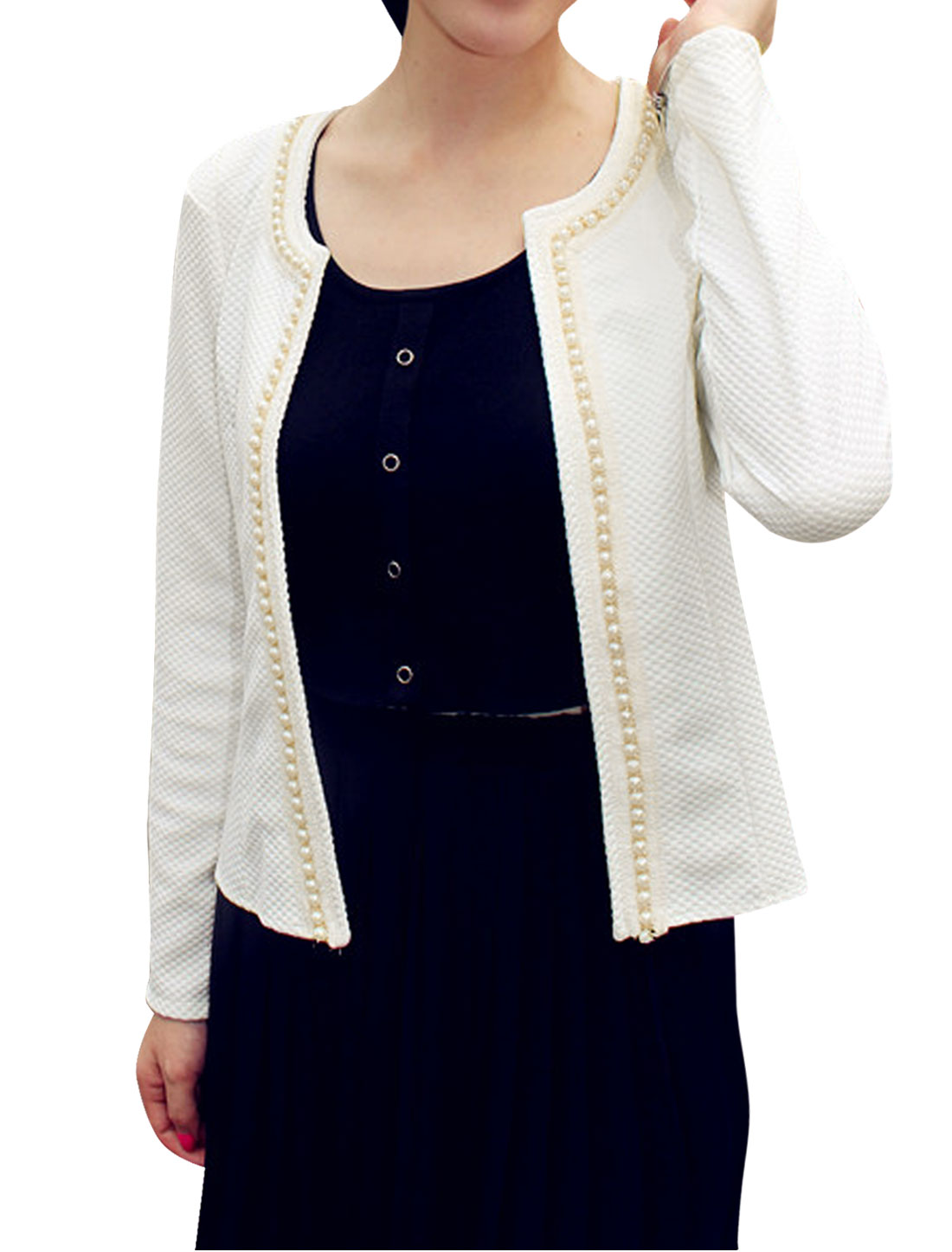 Ladies Long Sleeve Round Neck Plastic Pearl Decor Casual Jacket White S