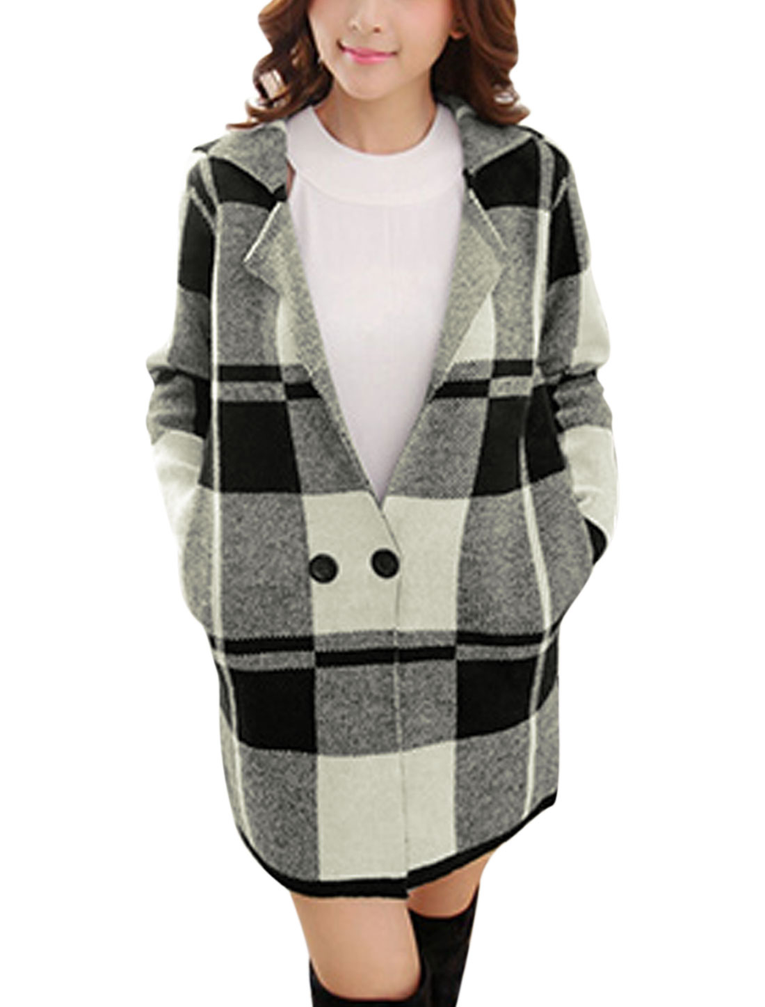Lady Nothed Lapel Double Breasted Plaids Pattern Casual Sweatercoat Black S