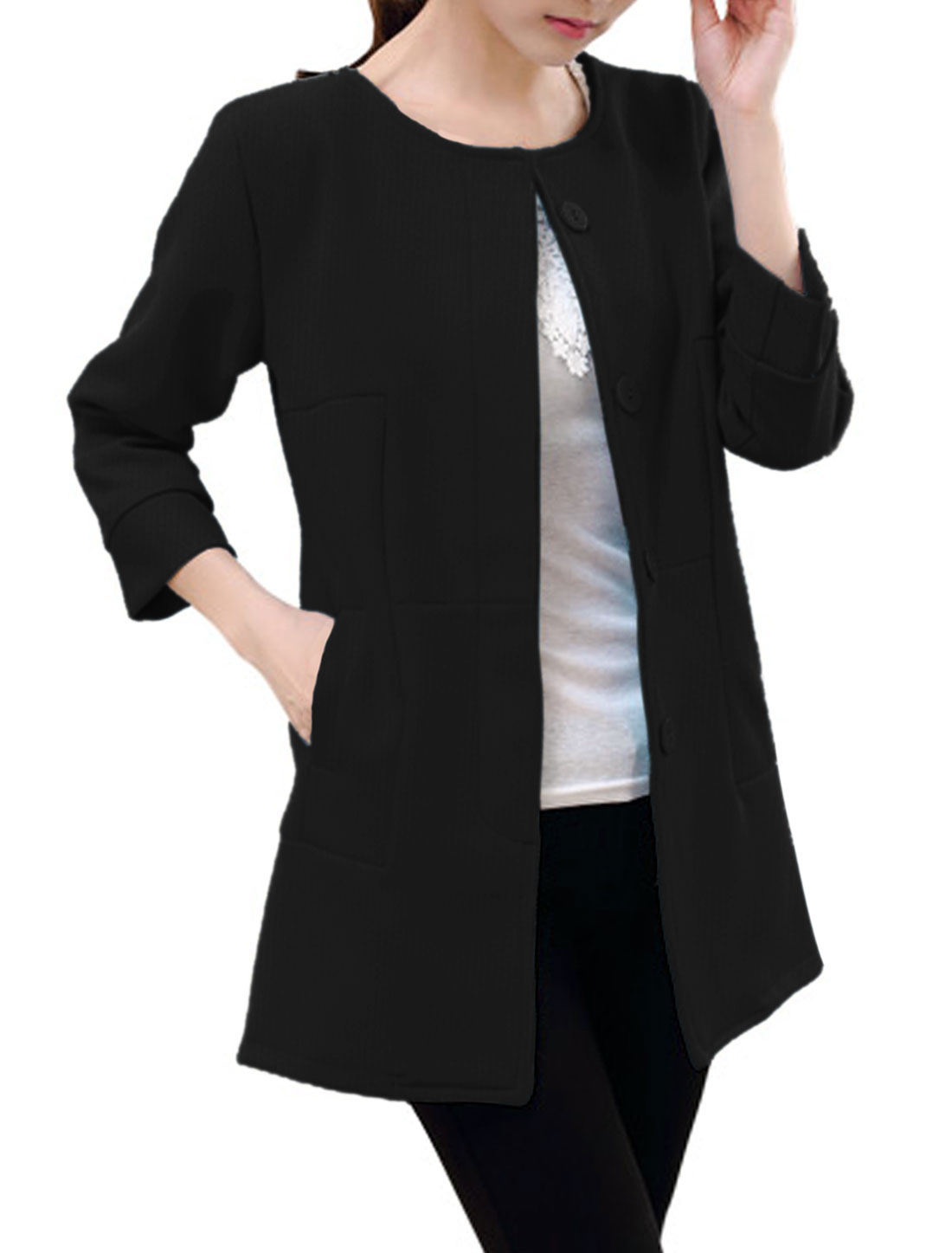 Lady Round Neck Single Breasted Lining Casual Blazer Black S
