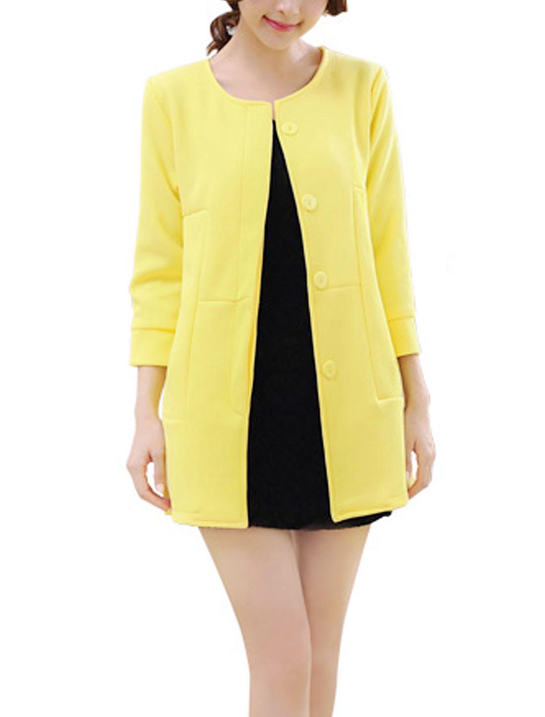 Lady Round Neck Double Slant Pockets Casual Blazer Light Yellow S