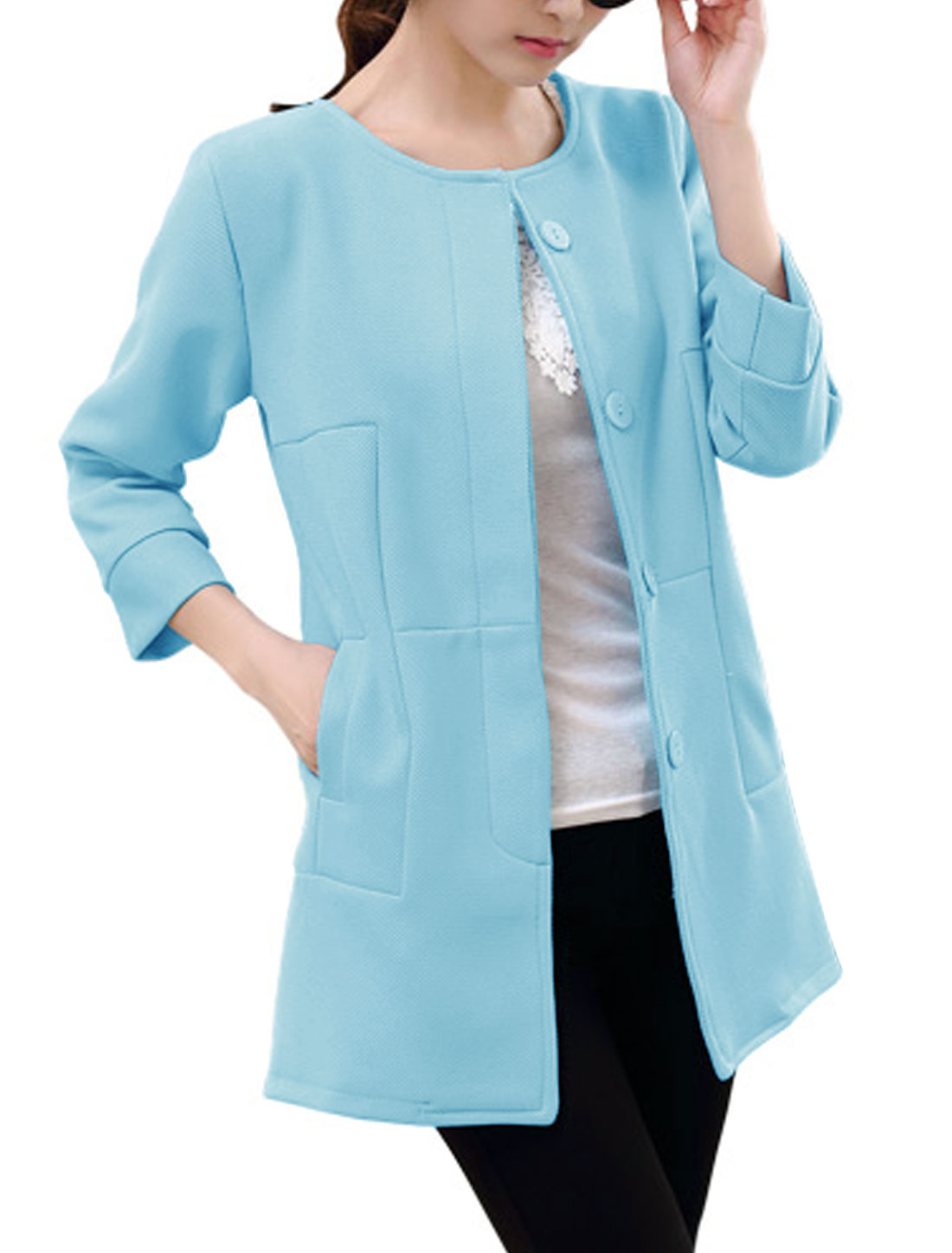 New Style Round Neck Single Breasted Casual Blazer Light Blue S