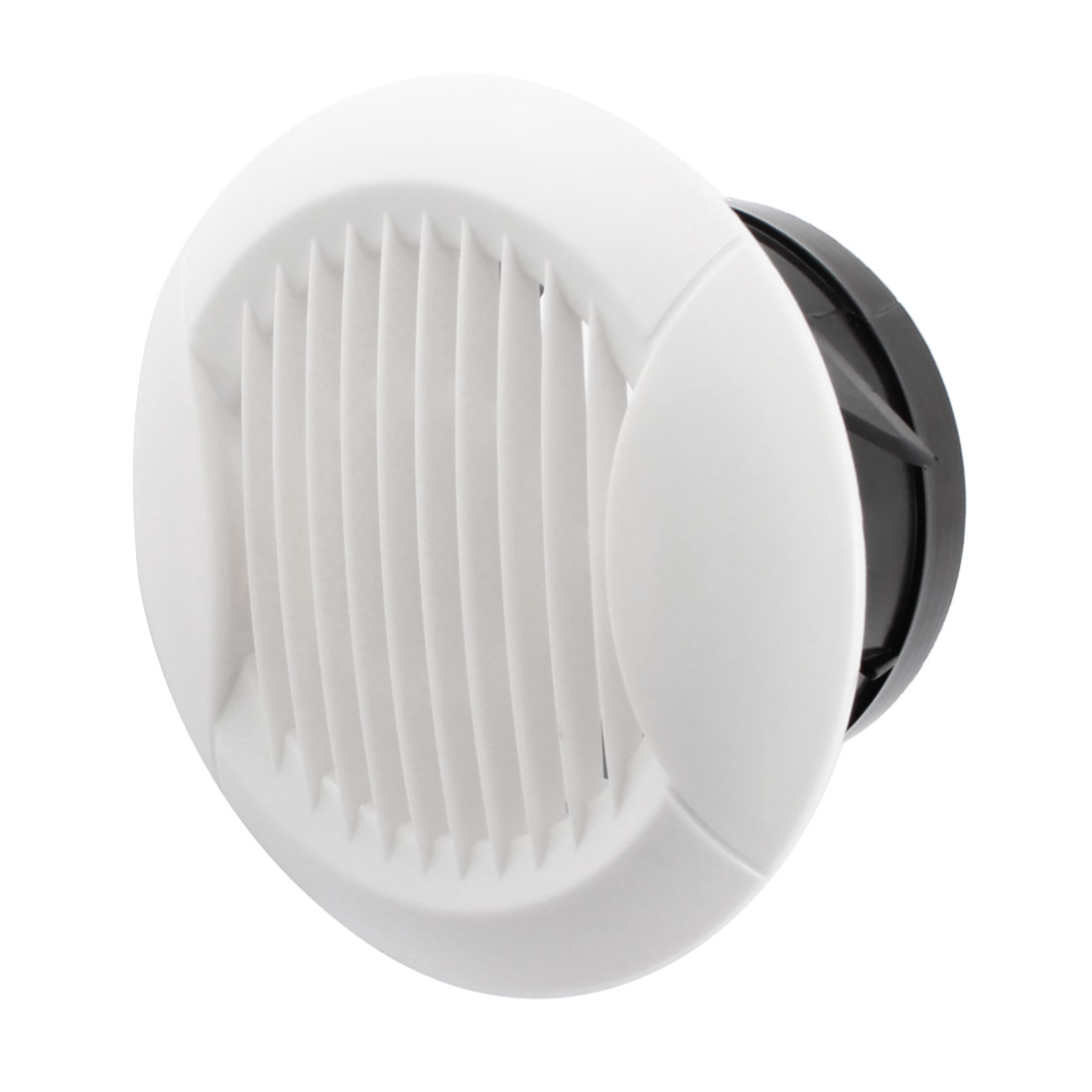 Circle Air Vent Outlet Louver Ventilation Grille Cover Flange White for 90mm Ducting