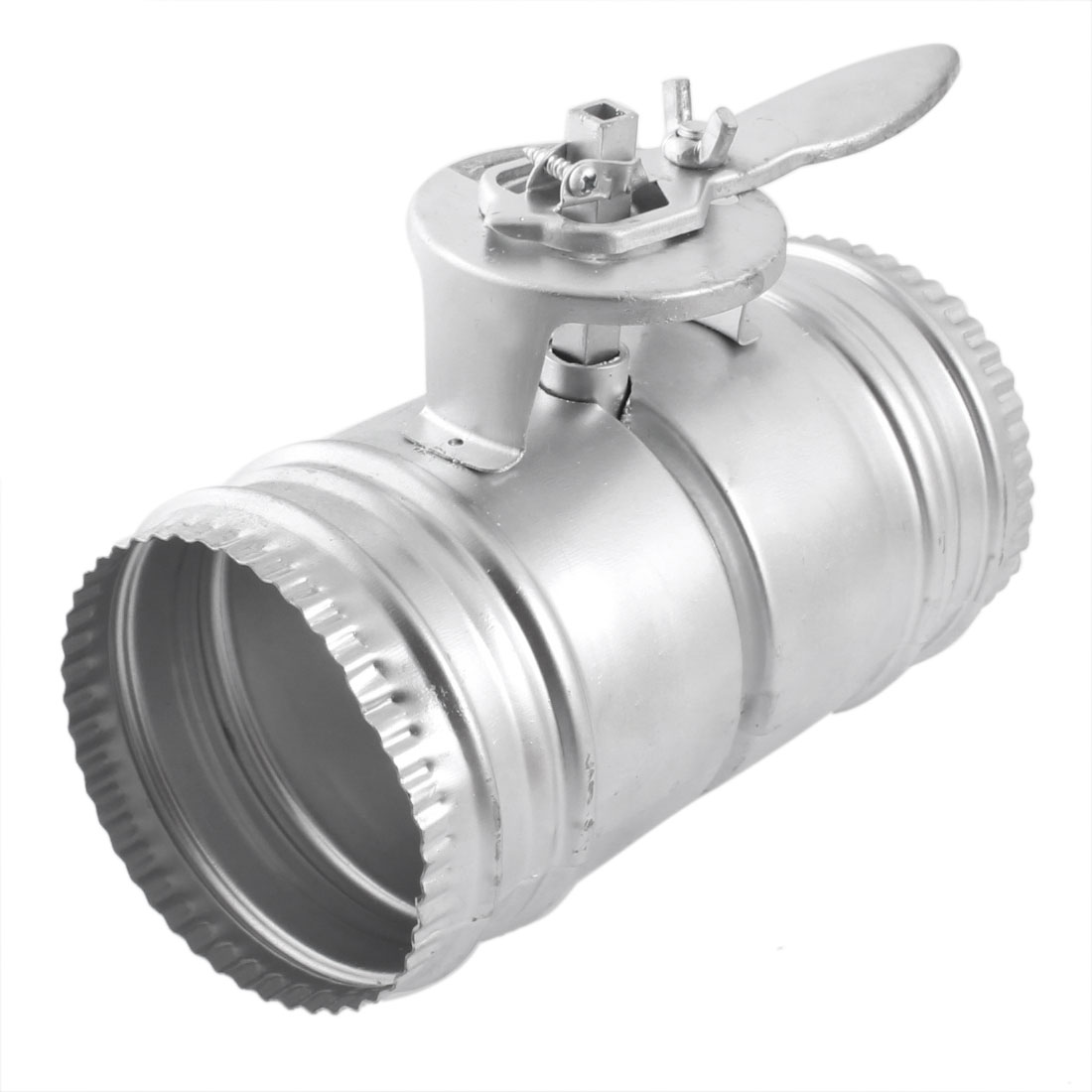 Silver Tone Metal Air Flow Regulated Control Valve for 100mm Dia Round Ducting