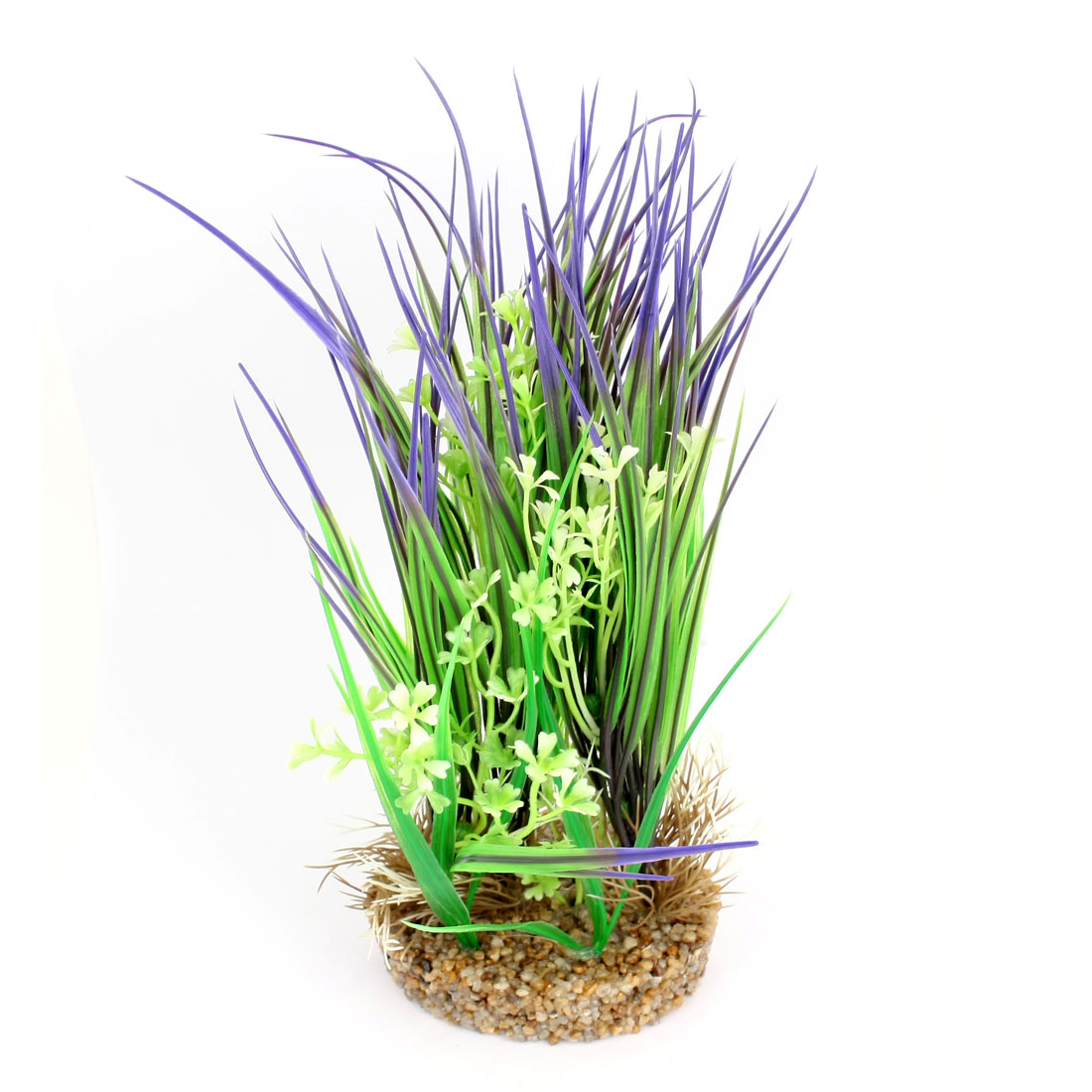 Aquarium Ornament Artificial Floral Accent Purple Green Water Grass 27cm High
