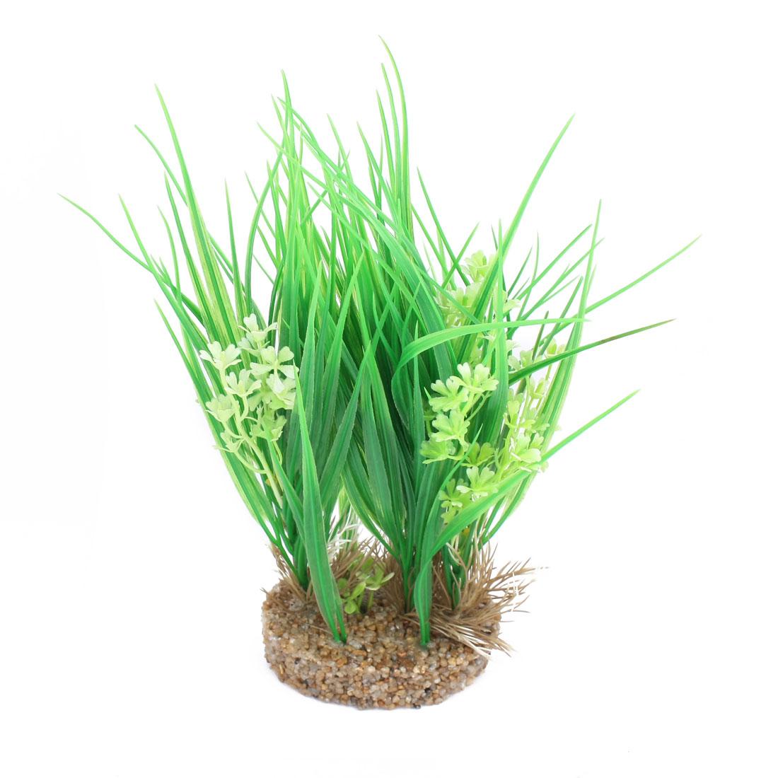 """Fish Tank Decor Artificial Flower Detail Green Water Grass 11"""" High"""